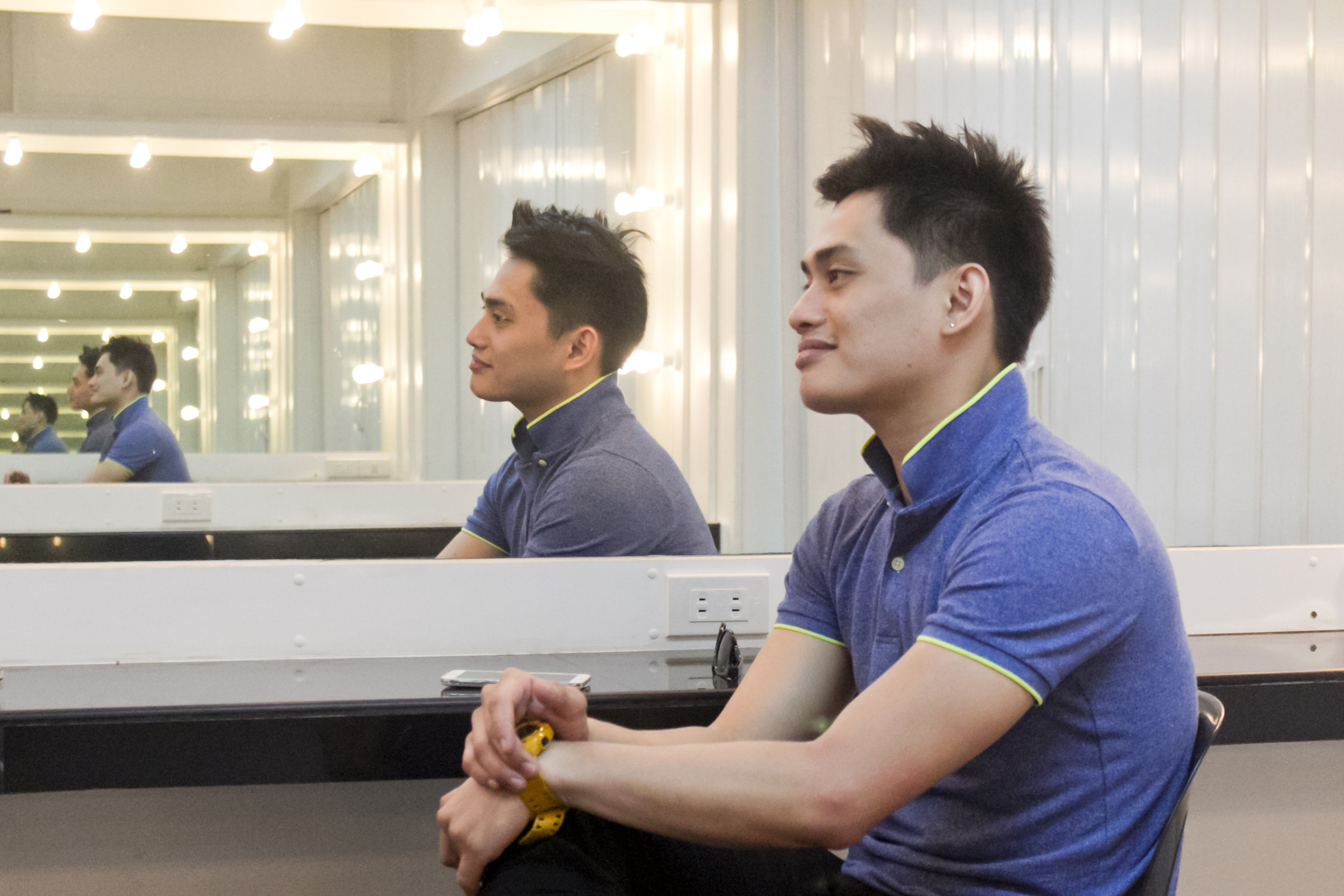 """At the Ballet Manila dressing room in Aliw Theater, Alfren reflects, """"In ballet, you learn not just about dance but about life."""" Photo by Jimmy Villanueva"""