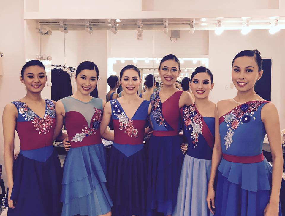 "Czarina (right) backstage with the other ""Blue Ladies"" of Martin Lawrance's  Rebel  (from left): Henriette Garcia, Marika Añonuevo, DoHyun Choi, Abigail Oliveiro and Joan Emery Sia. Photo by Violet Hong"