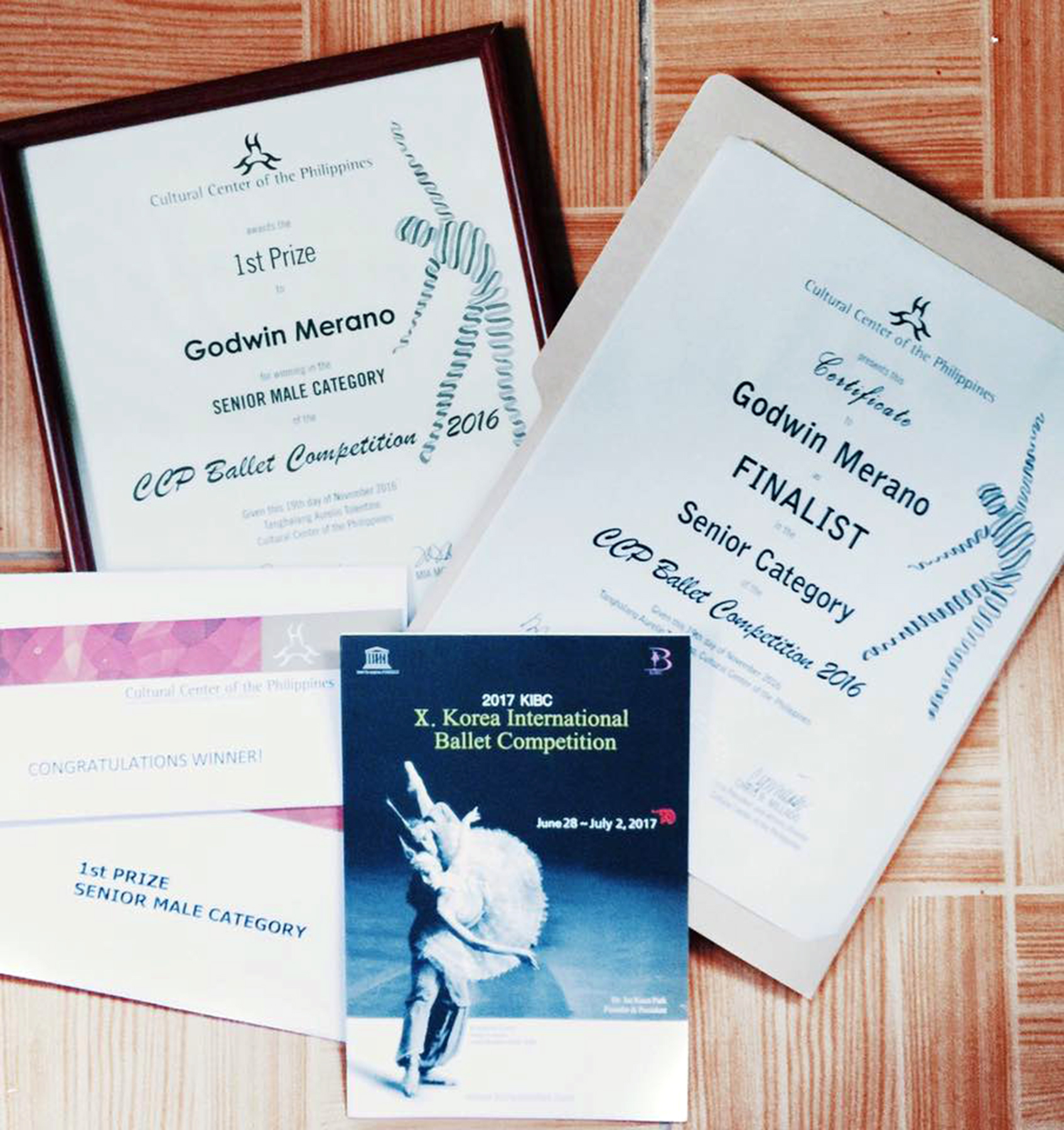 A photo of Godwin's certificates from the CCP competition which he posted on Facebook, a day after his victory. Photo from Godwin Merano's Facebook page