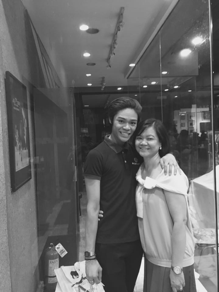 With his mom, Grace Merano, who flew all the way from Toronto to surprise him and watch him compete in CCP and perform in    Cinderella   with Ballet Manila. Photo from Godwin Merano's Facebook page