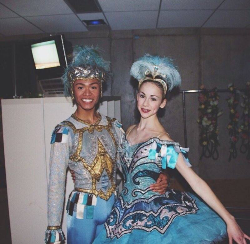 With his National Ballet School classmate Charlotte Reid when they partnered for Bluebird Pas de Deux in their school's spring showcase in 2014. Photo from Godwin Merano's Facebook page