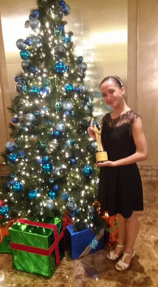 Christmas came early for Jessa who received her Aliw Award as Best Classical Dancer last November 30 during rites held at Dusit Thani Hotel. Photo courtesy of Jessa Balote