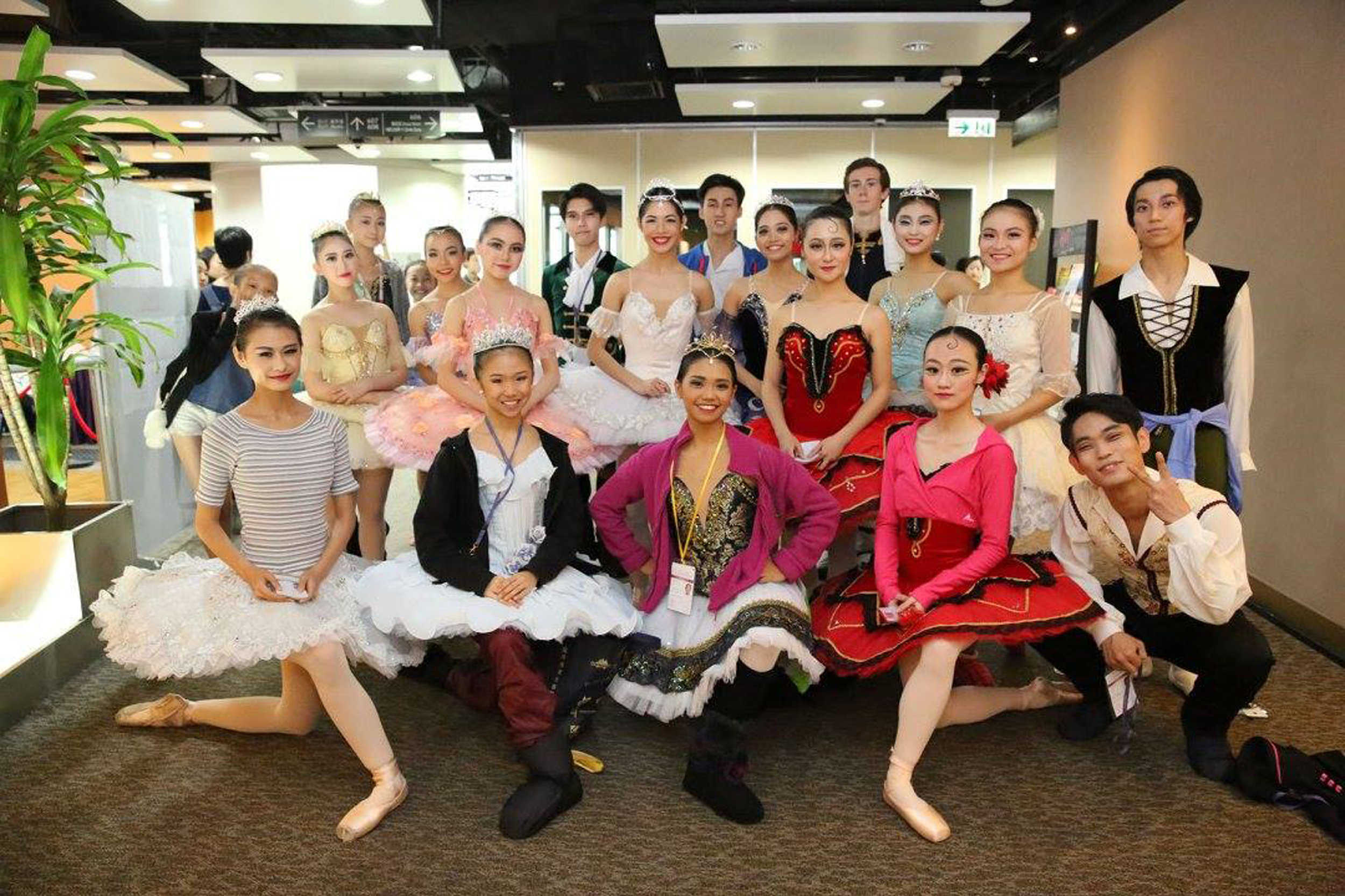 At the Asian Grand Prix in Hong Kong, Abby (front, center) poses with fellow competitors in her age category. It was her first time to join a ballet competition. Photo courtesy of AGP