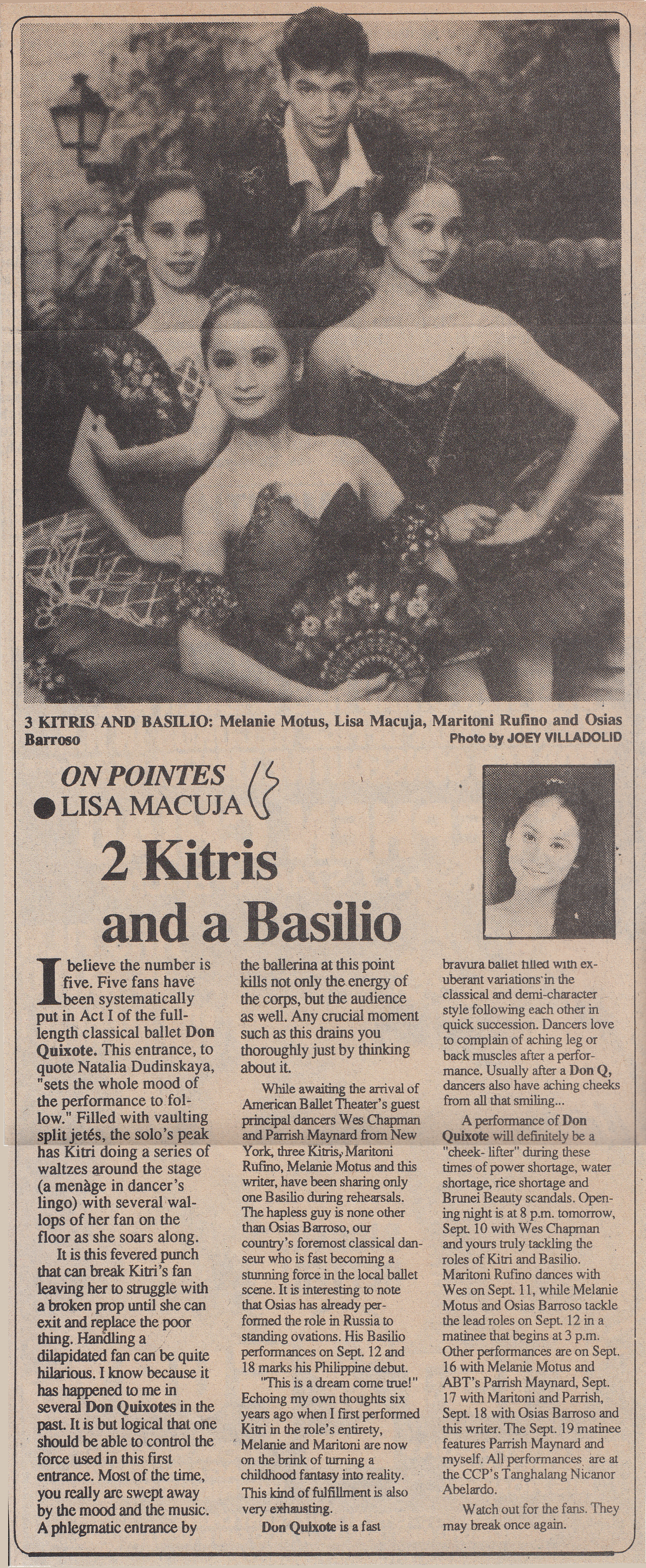 Clipping of Lisa Macuja's column published in    Malaya   . Photo courtesy of the Ballet Manila Archives