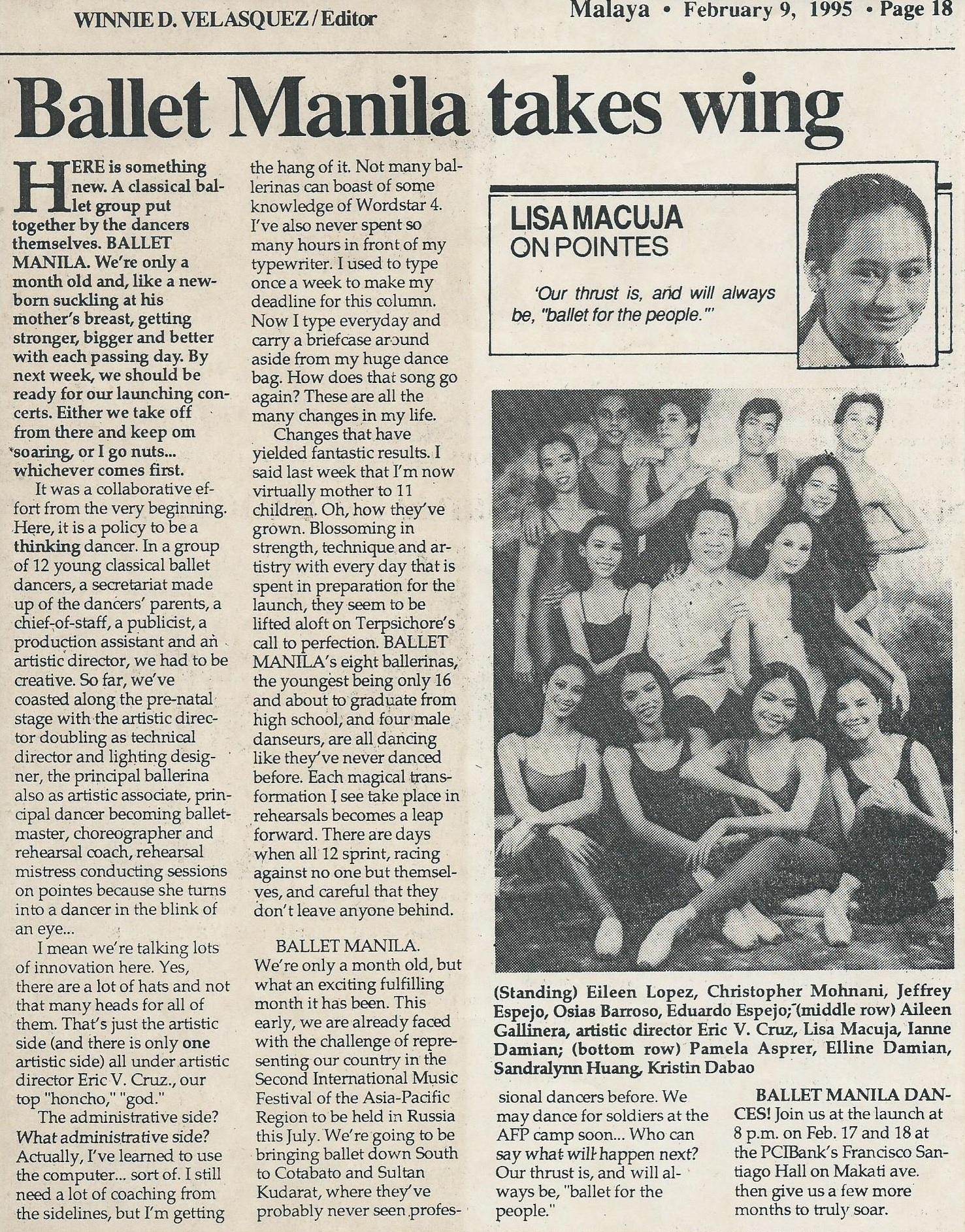 Ballet Manila takes wing