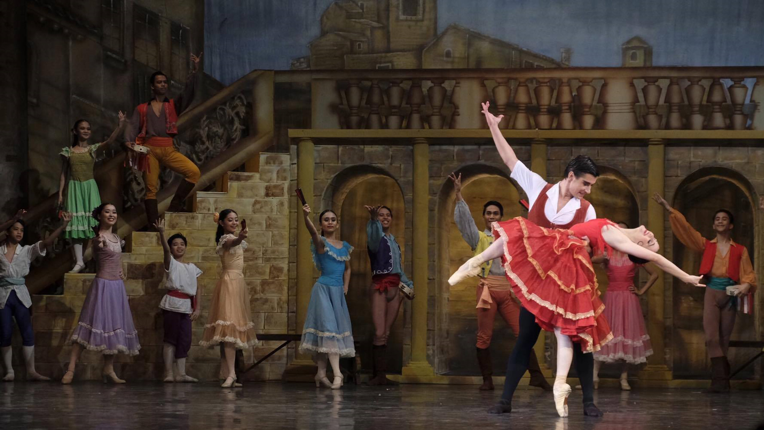 Katherine Barkman and Mikhail Martynyuk give a rousing performance as Kitri and Basilio in Ballet Manila's    Don Quixote   . Photo by G-nie Arambulo