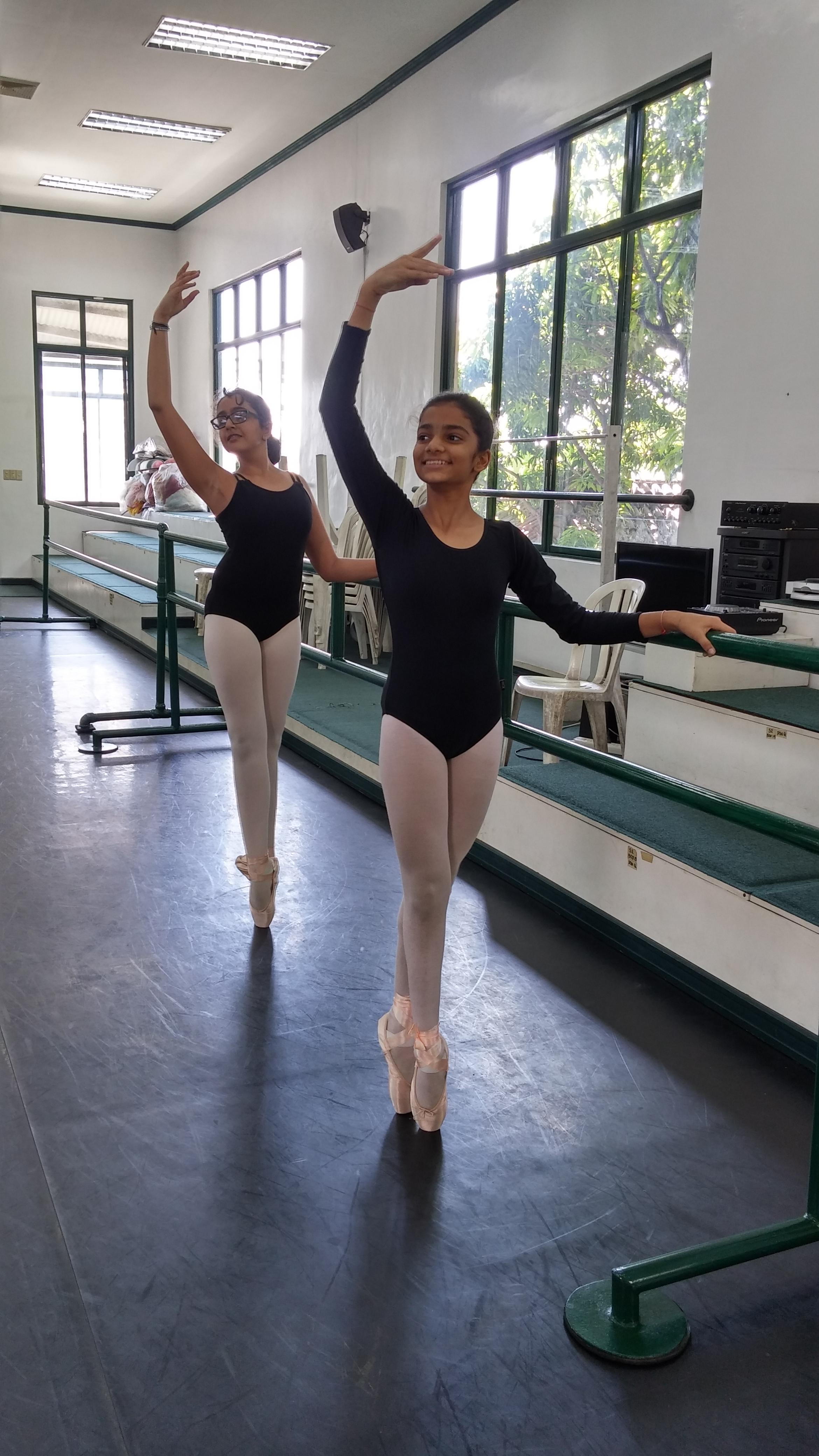 Krisha Shah (foreground) and Eesha Karnani are enjoying learning the Vaganova method under their Ballet Manila mentors.