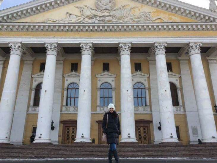 In front of the theater in Chelyabinsk where Ballet Manila had also performed several years before
