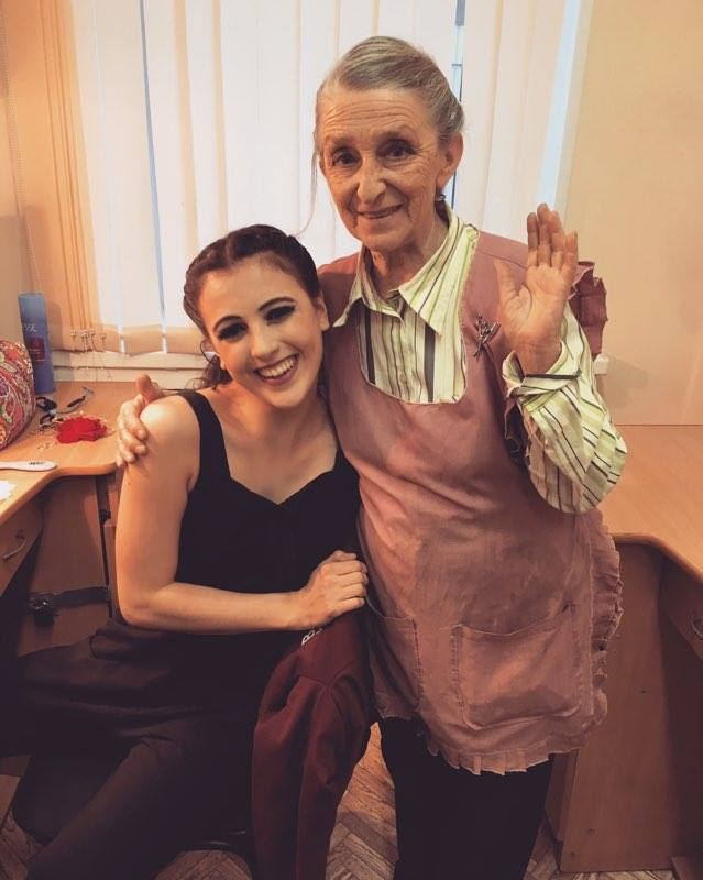 With Larissa, who has been the hairdresser of ballerinas in Russia for over 50 years! She insisted we take a photo of my hair before putting it into a bun for    Don Quixote   . I then insisted she also get in the photo!