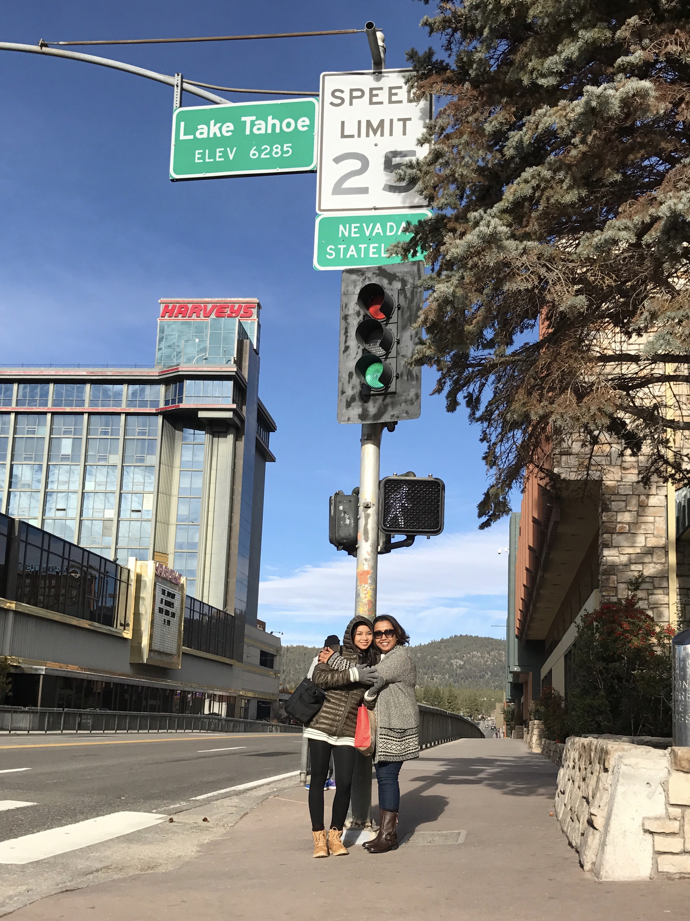 With my half-sister below the Nevada Stateline sign