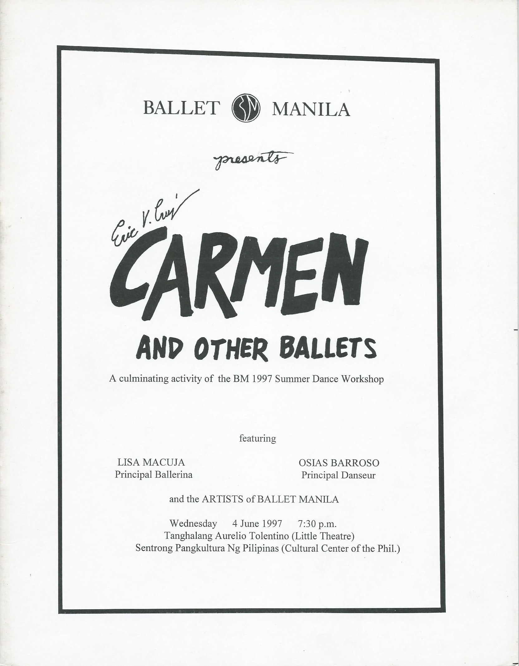 The cover of the souvenir program of the Ballet Manila School's final activity to cap its first summer workshop in 1997. Photo courtesy of the Ballet Manila Archives