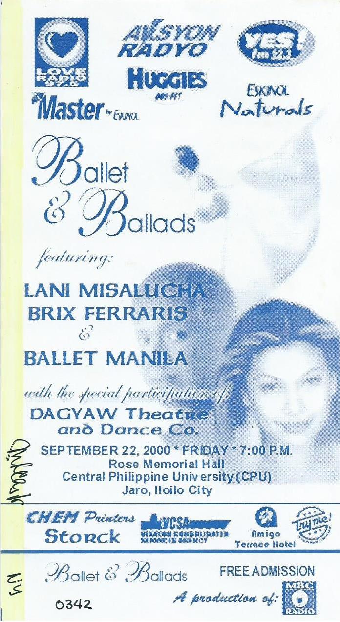 Ticket for Iloilo show, 2000