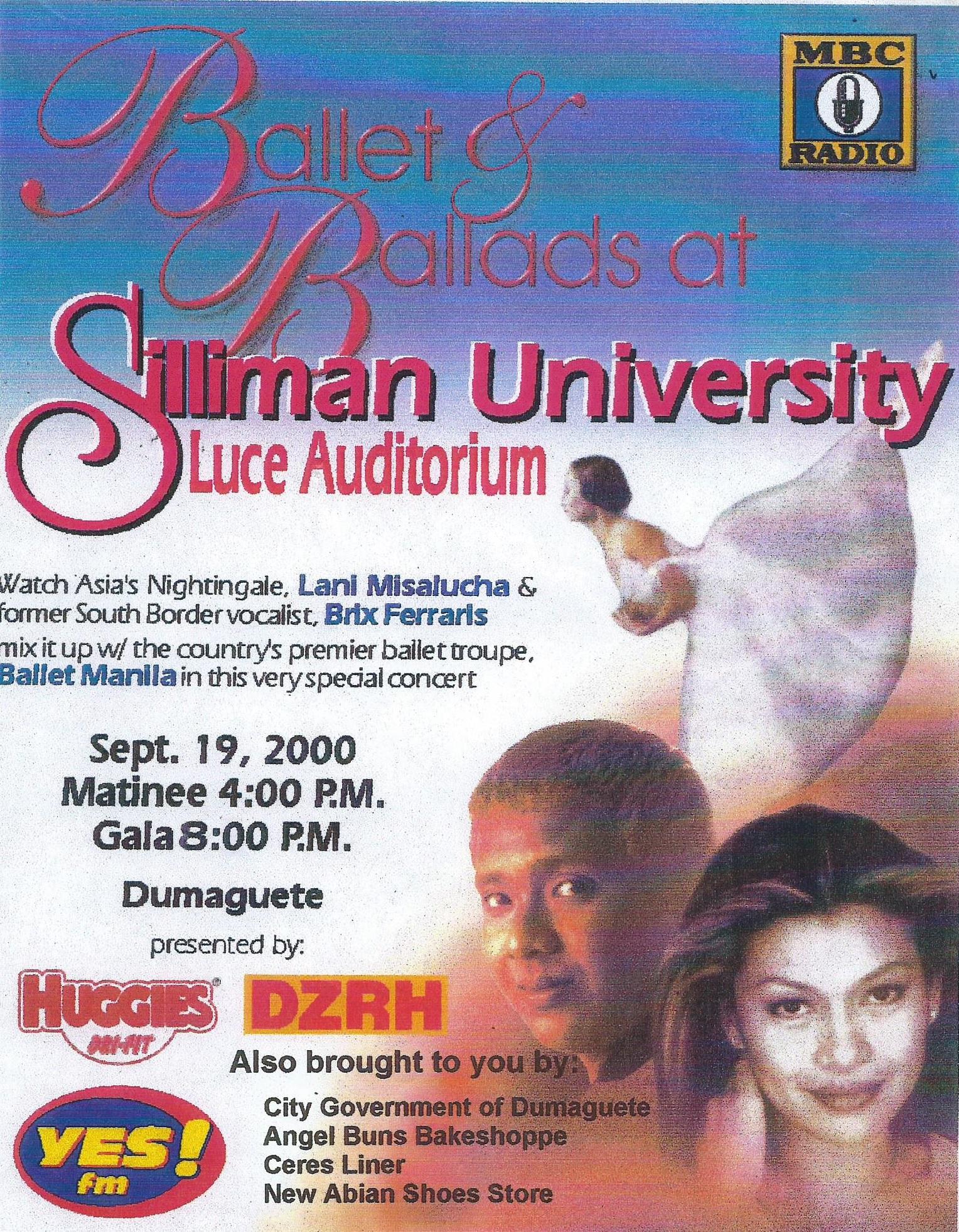 Leaflet for Dumaguete show with Lani Misalucha and Brix Ferraris, 2000