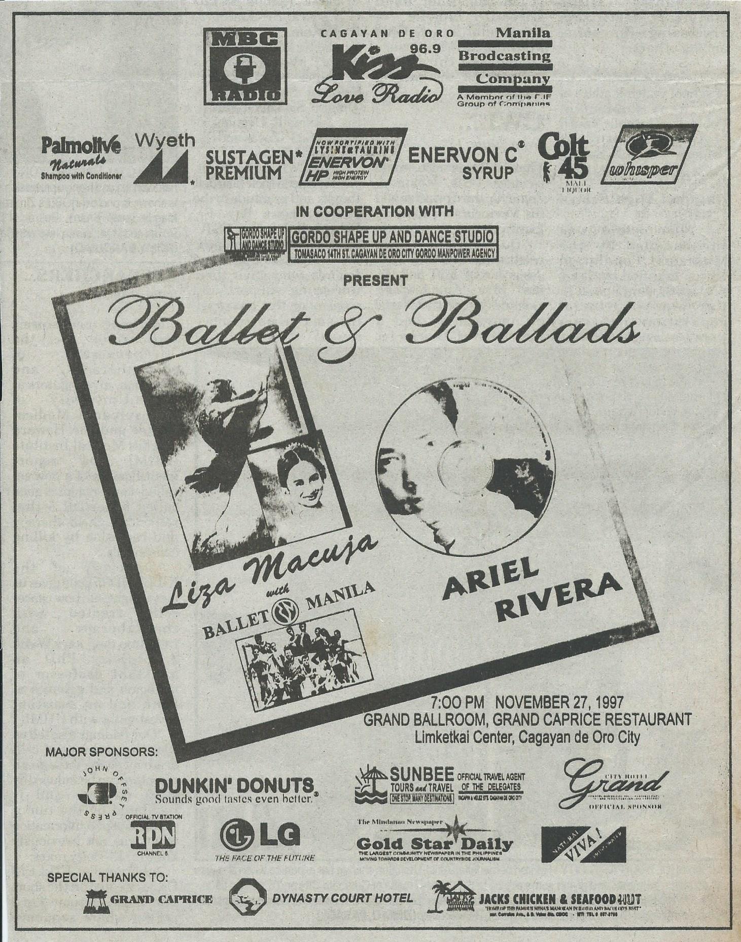 Advertisement for Cagayan de Oro show with Ariel Rivera, 1997