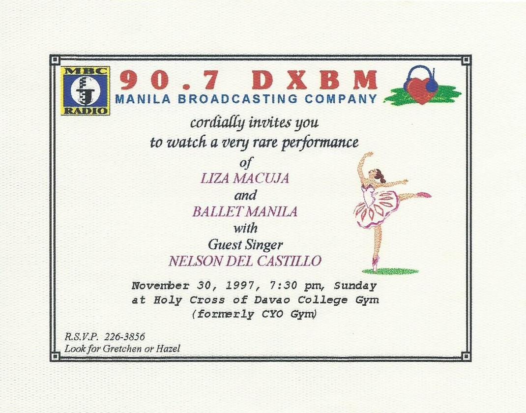 Invitation for Davao show, 1997