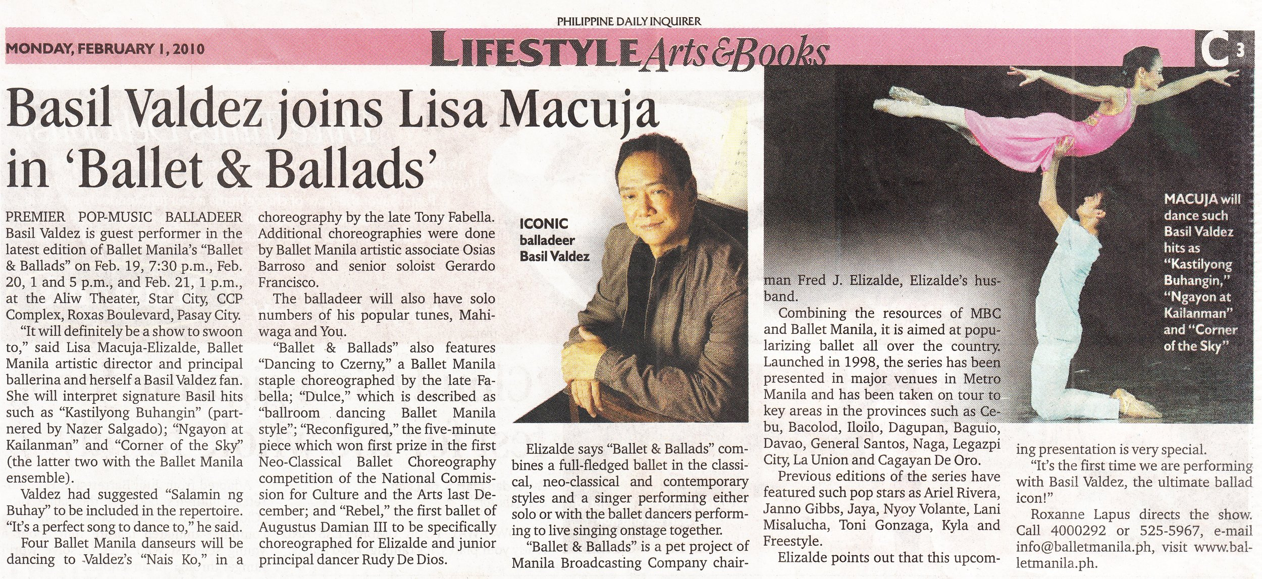 Newspaper clipping of  Ballet & Ballads  concert with Basil Valdez at Aliw Theater, 2010