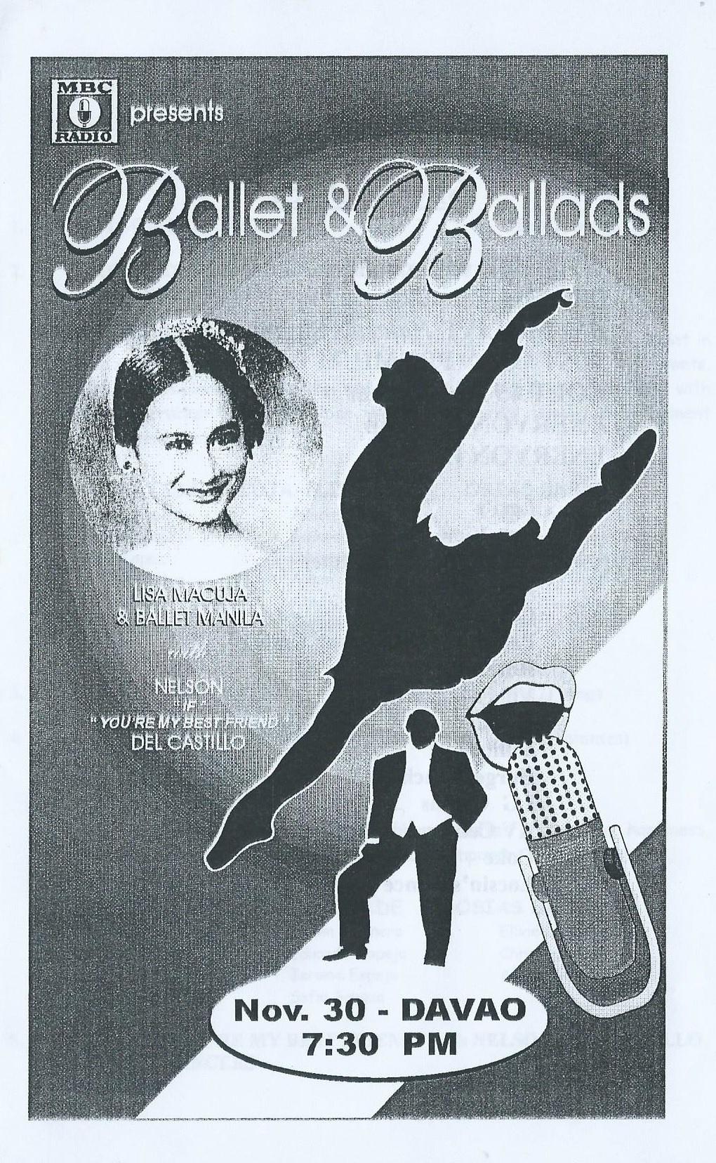 Souvenir program of Davao show with Nelson del Castillo, 1997