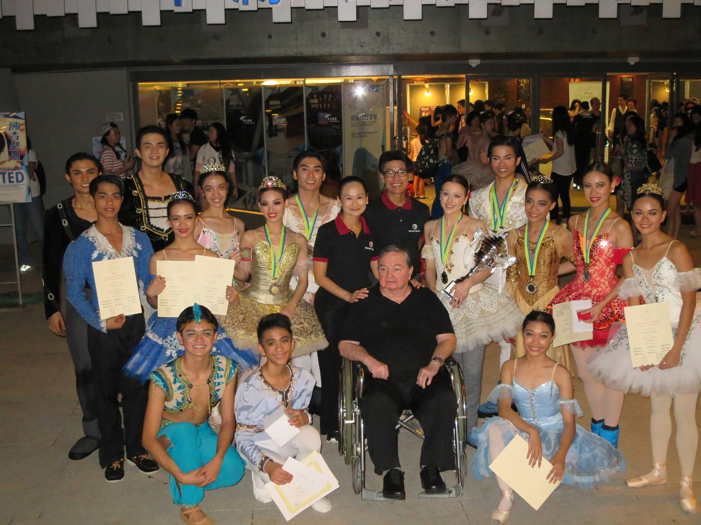 Fred is on hand to congratulate the BM dancers who won medals and citations at the Asian Grand Prix in Hong Kong in 2015. Standing to his left is principal artist Katherine Barkman who bagged the competition's top prize.