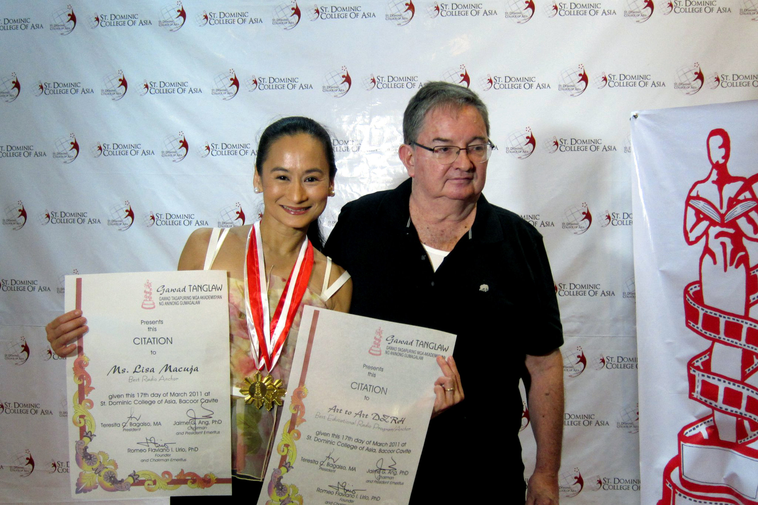 Lisa and Fred receive the Gawad Tanglaw citations in 2011, for Lisa as Best Radio Anchor and for  Art 2 Art  as Best Educational Program on Radio.