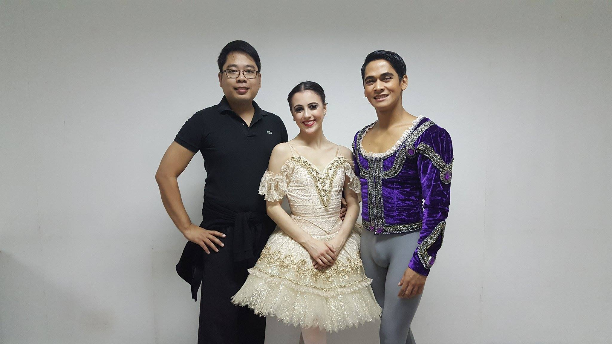 Ballet Manila's MIBC delegation: coach Jonathan Janolo, competitor Katherine Barkman, and non-competing partner Rudy de Dios