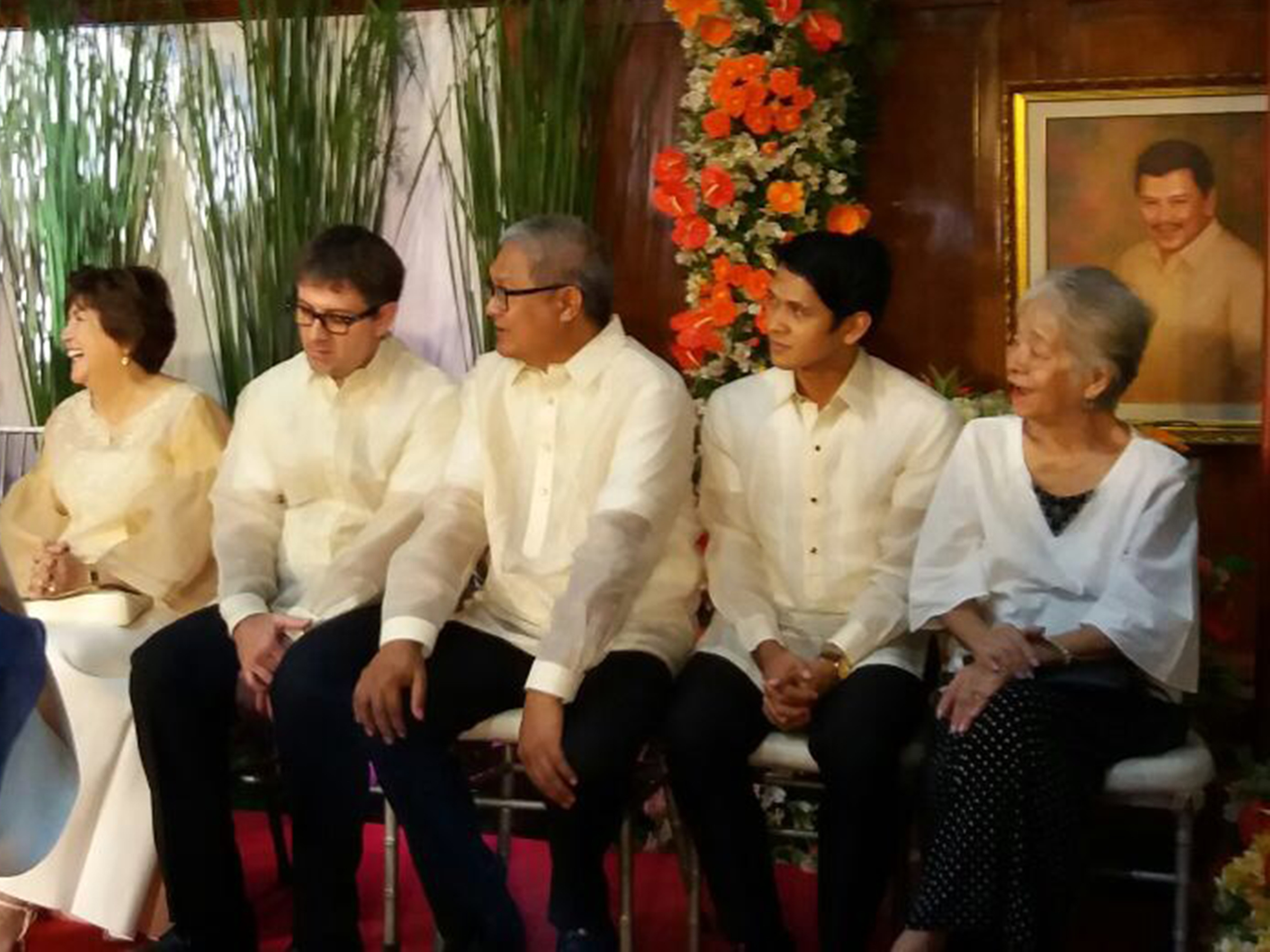 Seated onstage, Rudy De Dios (second from right) waits for his turn to receive his award. Manila Broadcasting Company's Freddie Elizalde (second from left) was there to accept an award on his father Fred J. Elizalde's behalf.