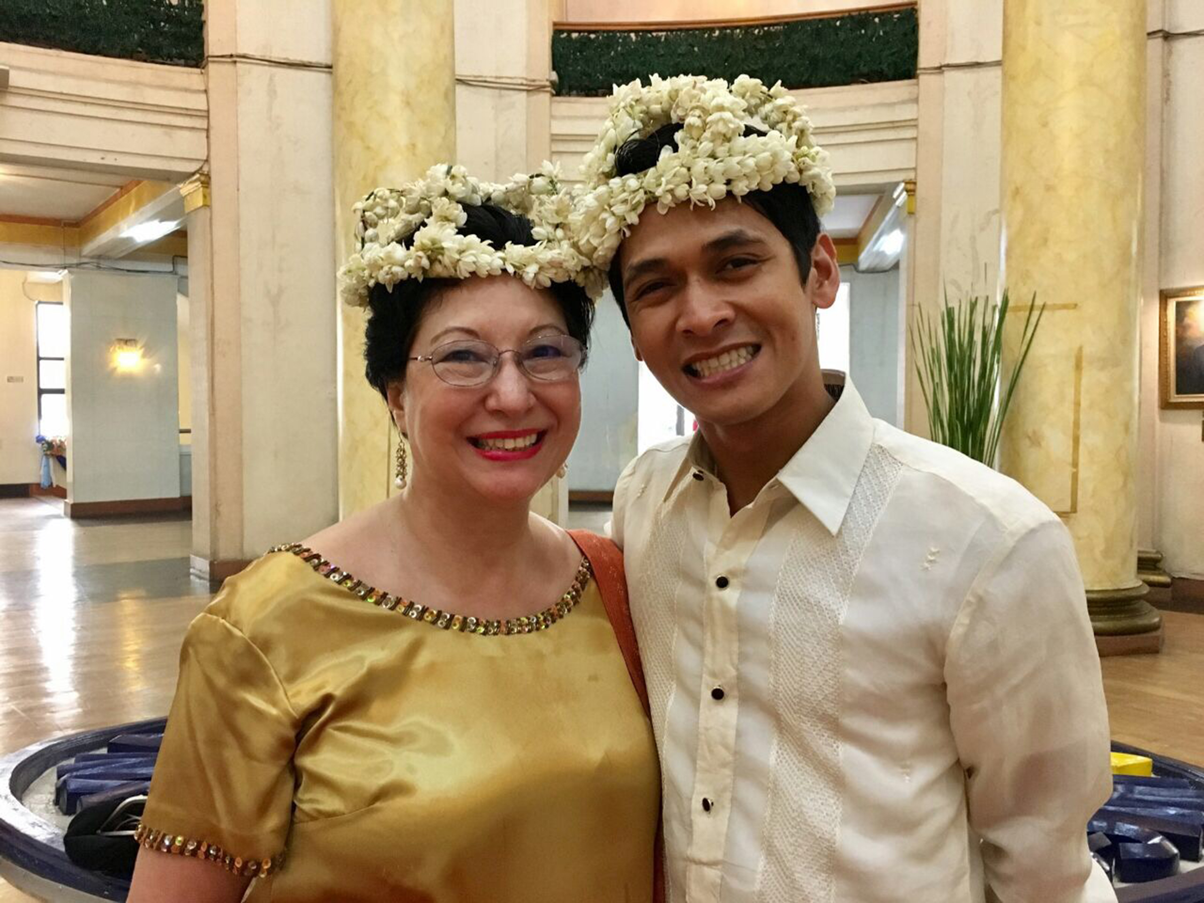 Also in attendance was Sylvia Lichauco, a prominent resident of Manila and currently the director of Ballet Manila's Project Ballet Futures scholarship program. Both are wearing sampaguita crowns accorded to the night's guests.