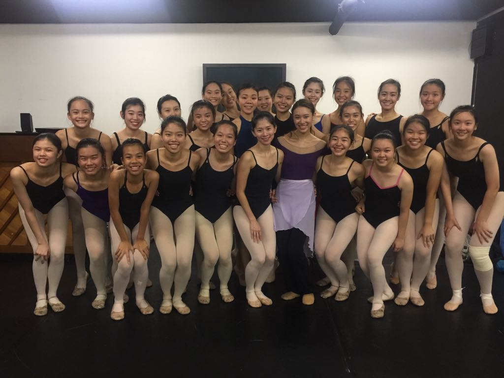 Teacher Abigail (front, seventh from left) with one of her classes at an intensive dance workshop she conducted for The School of Dance, Singapore.
