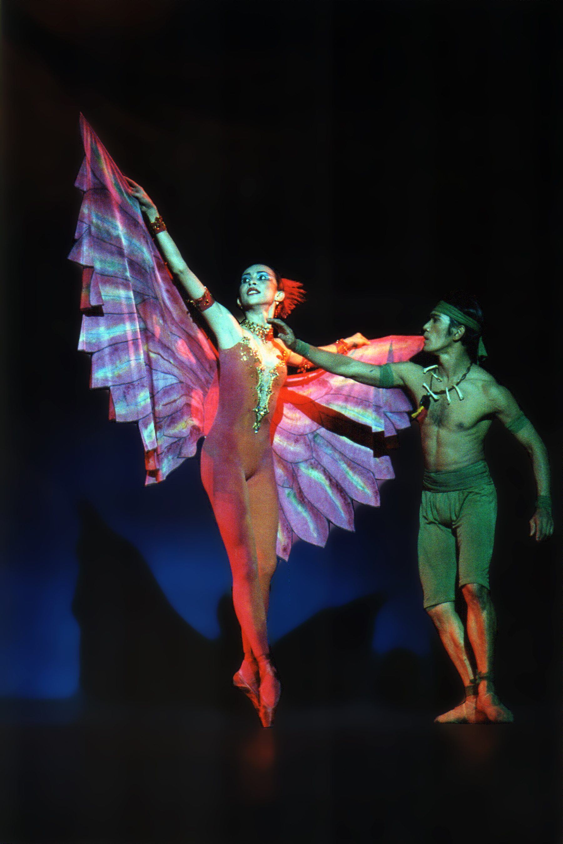 Aileen Gallinera as the Firebird and Osias Barroso as the Shaman wore costumes created by Belgian designer Inga Borg. Photo courtesy of the Ballet Manila Archives