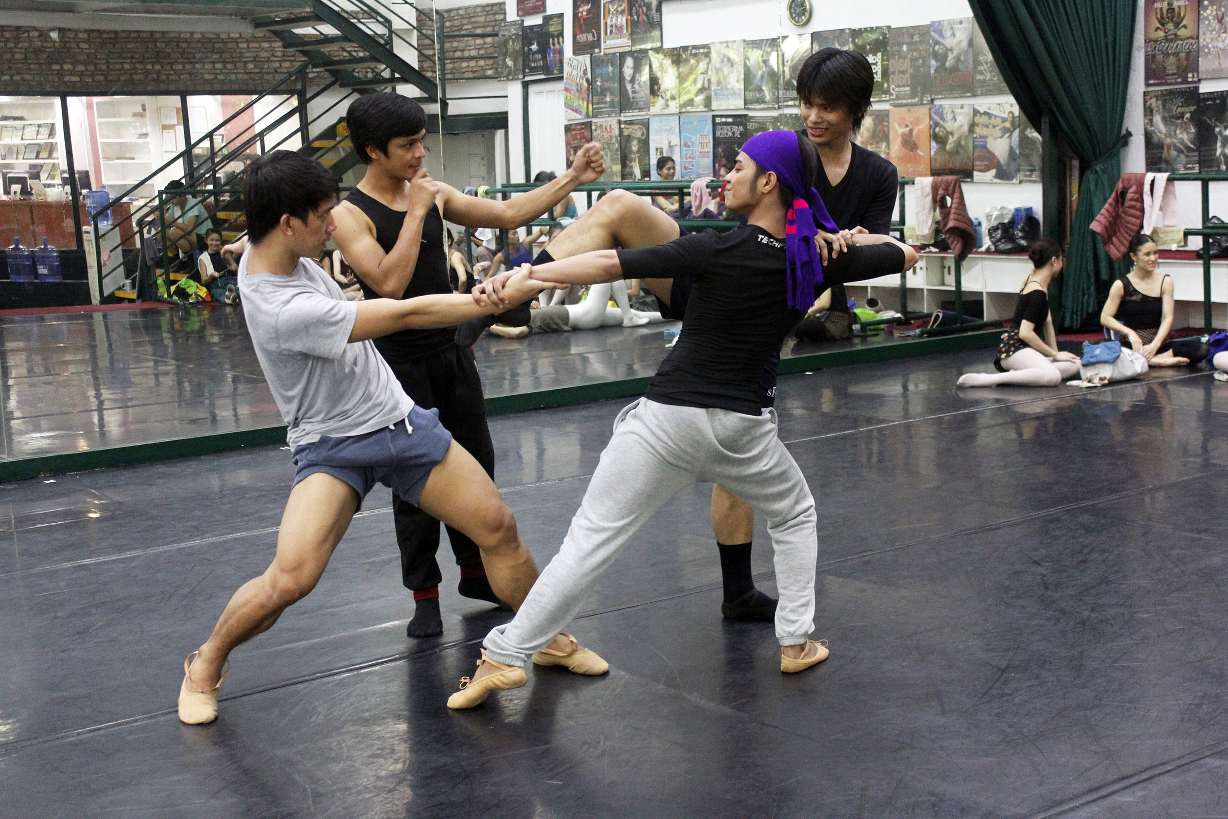 The second cast of    Ibong Adarna  rehearses with choreographer Gerardo Francisco (second from left). In photo are (from left) Rudolph Capongcol, Anselmo Dictado and Elpidio Magat as the three princes. Photo by Jimmy Villanueva
