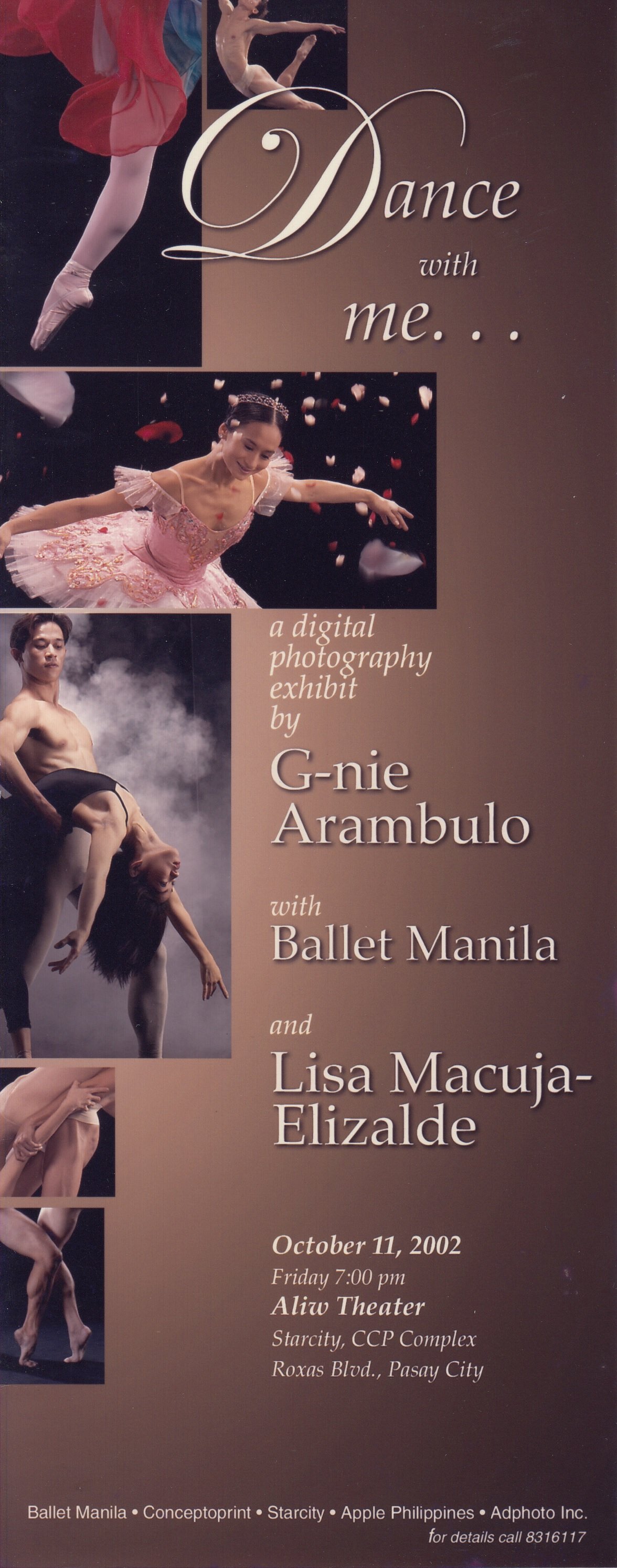 The invitation to G-nie Arambulo's first photo exhibit featuring Ballet Manila dancers in 2002. From the Ballet Manila Archives collection