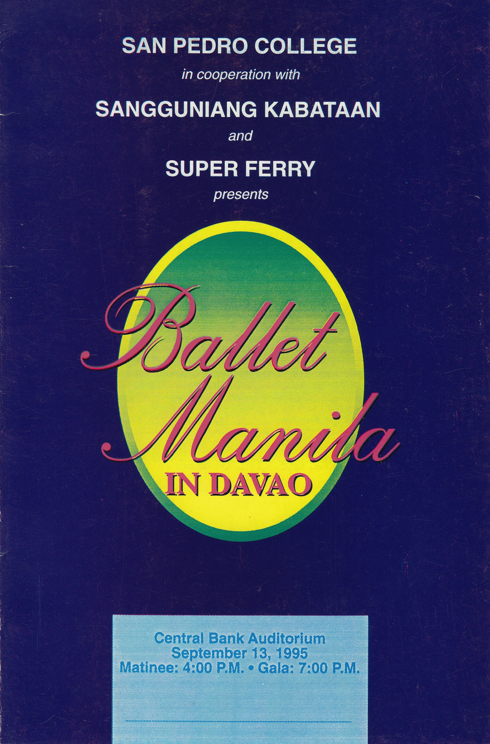 Souvenir program of two shows mounted in Davao. From the Ballet Manila Archives collection