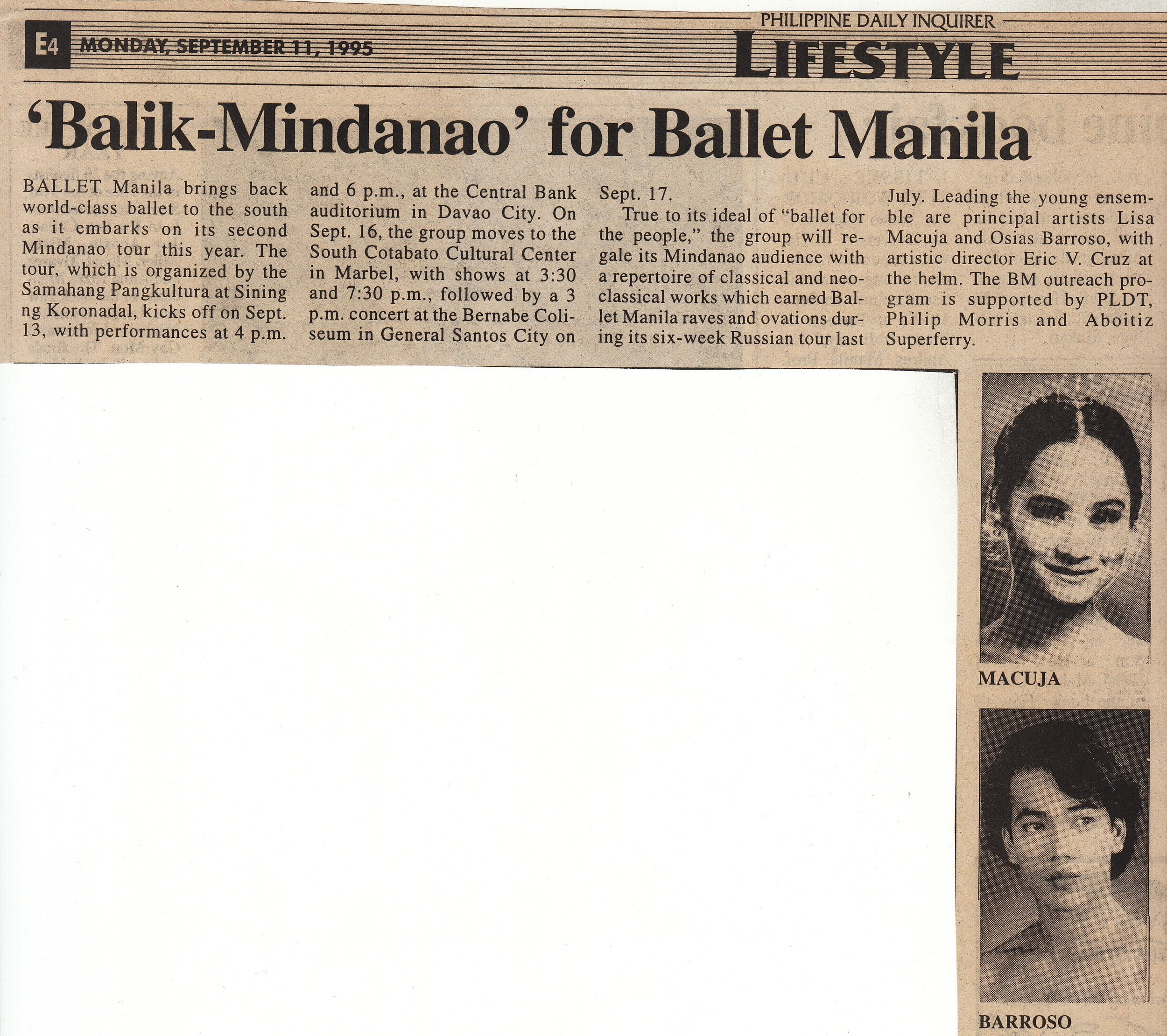 Clipping of an announcement that appeared in the Philippine Daily Inquirer. From the Ballet Manila Archives collection