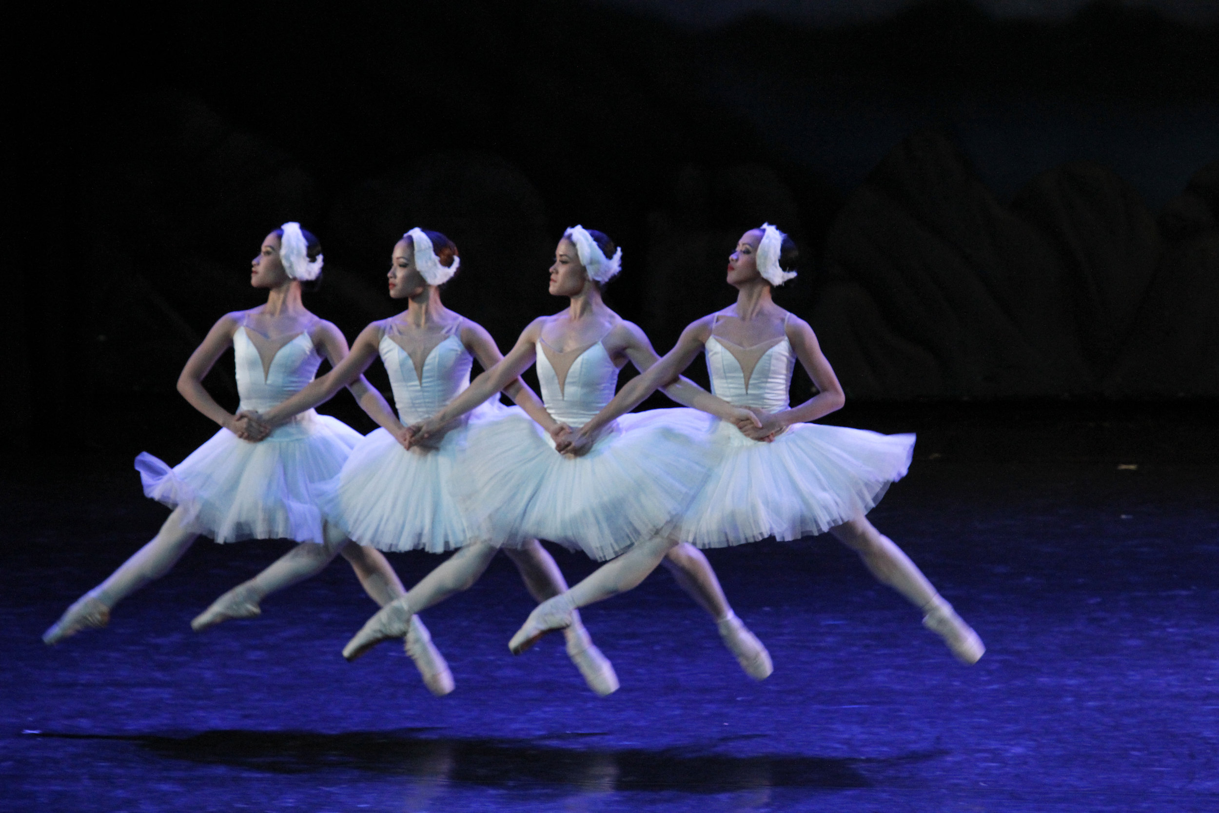 """Jessica Pearl Dames, Jasmine Pia Dames, Tiffany Chiang-Janolo and Jessa Balote are featured in the well-known """"Dance of the Cygnets"""" from    Swan Lake   . Photo by Ocs Alvarez"""