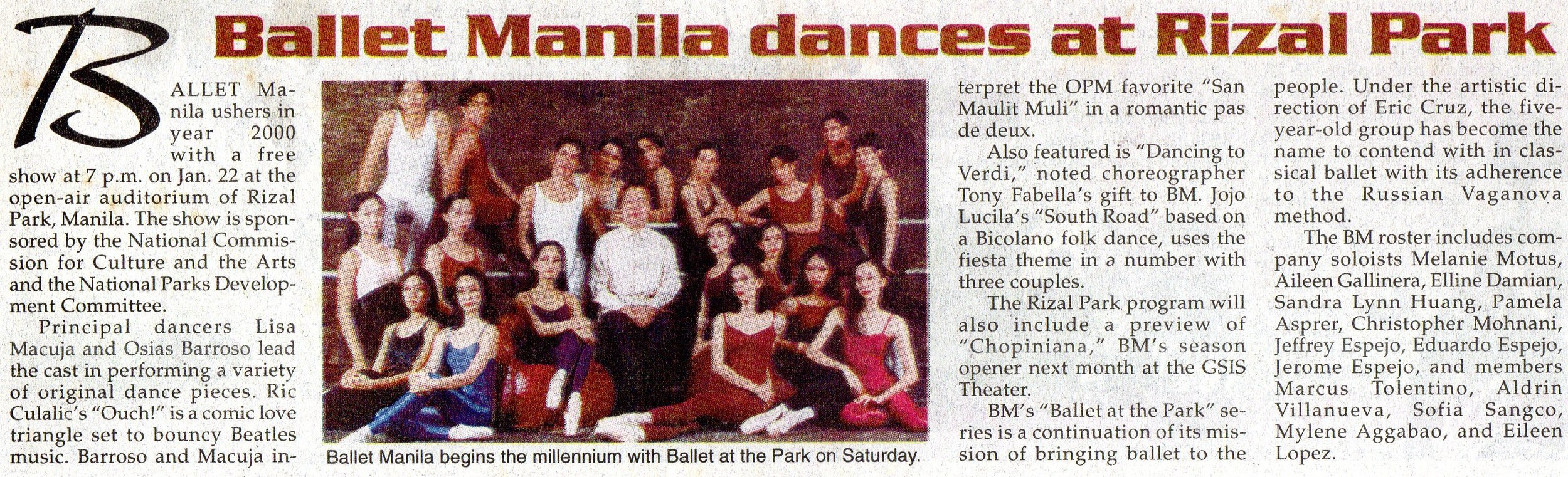 Clipping from    Malaya    announces Ballet Manila's free show to open the year 2000. From the Ballet Manila Archives collection