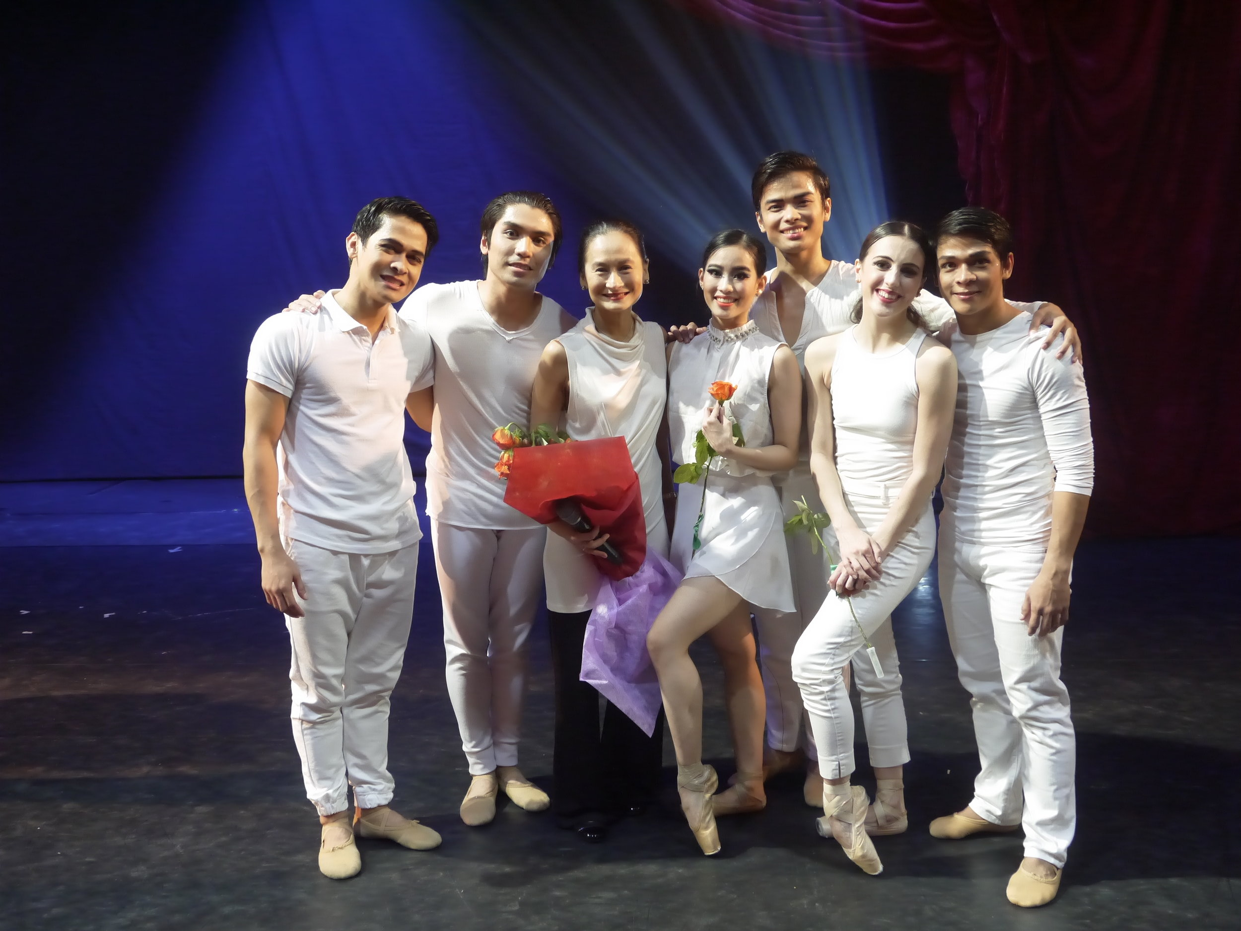 Artistic director Lisa Macuja Elizalde (third from left) poses with BM's principal dancers old and new shortly after her surprise announcement of promotions within the company. With her are, from left, Rudy De Dios, Romeo Peralta, Joan Emery Sia, Elpidio Magat, Katherine Barkman and Gerardo Francisco. Photo by Giselle P. Kasilag
