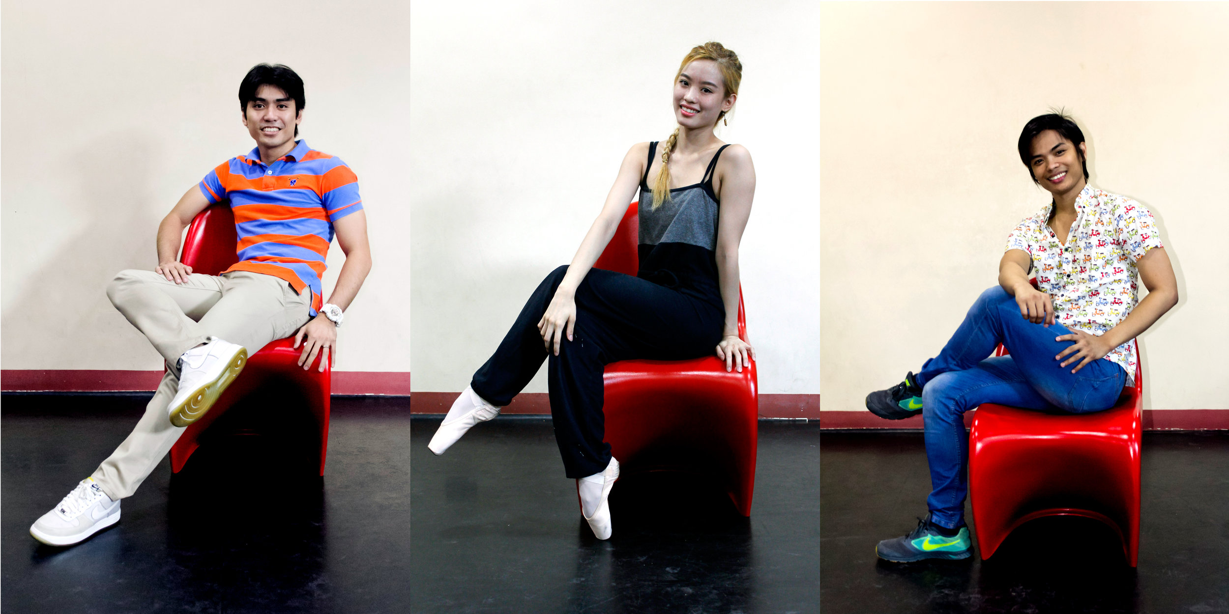 Romeo Peralta, Joan Emery Sia and Elpidio Magat will start as principal dancers in Ballet Manila's 23rd season opening in September. Photo by Jimmy Villanueva