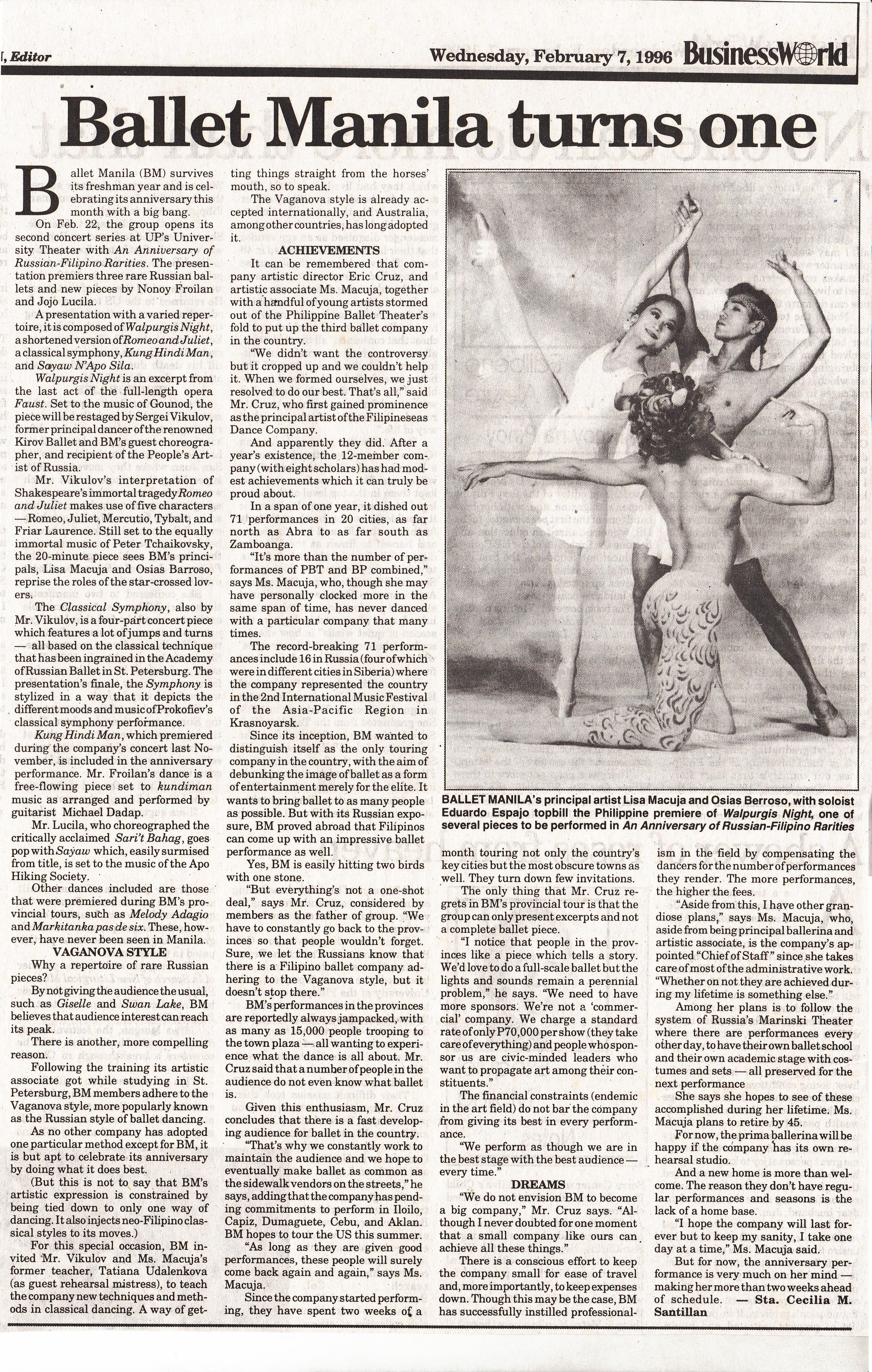 A feature story in BusinessWorld recounts Ballet Manila's milestone event. From the Ballet Manila Archives collection