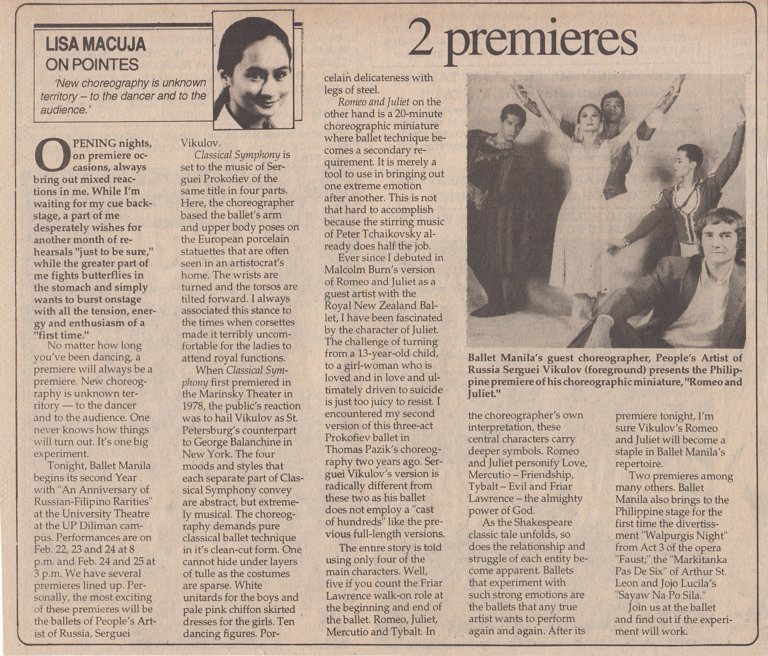 Lisa Macuja writes about both the excitement and the tension of preparing to perform new works. From the Ballet Manila Archives collection