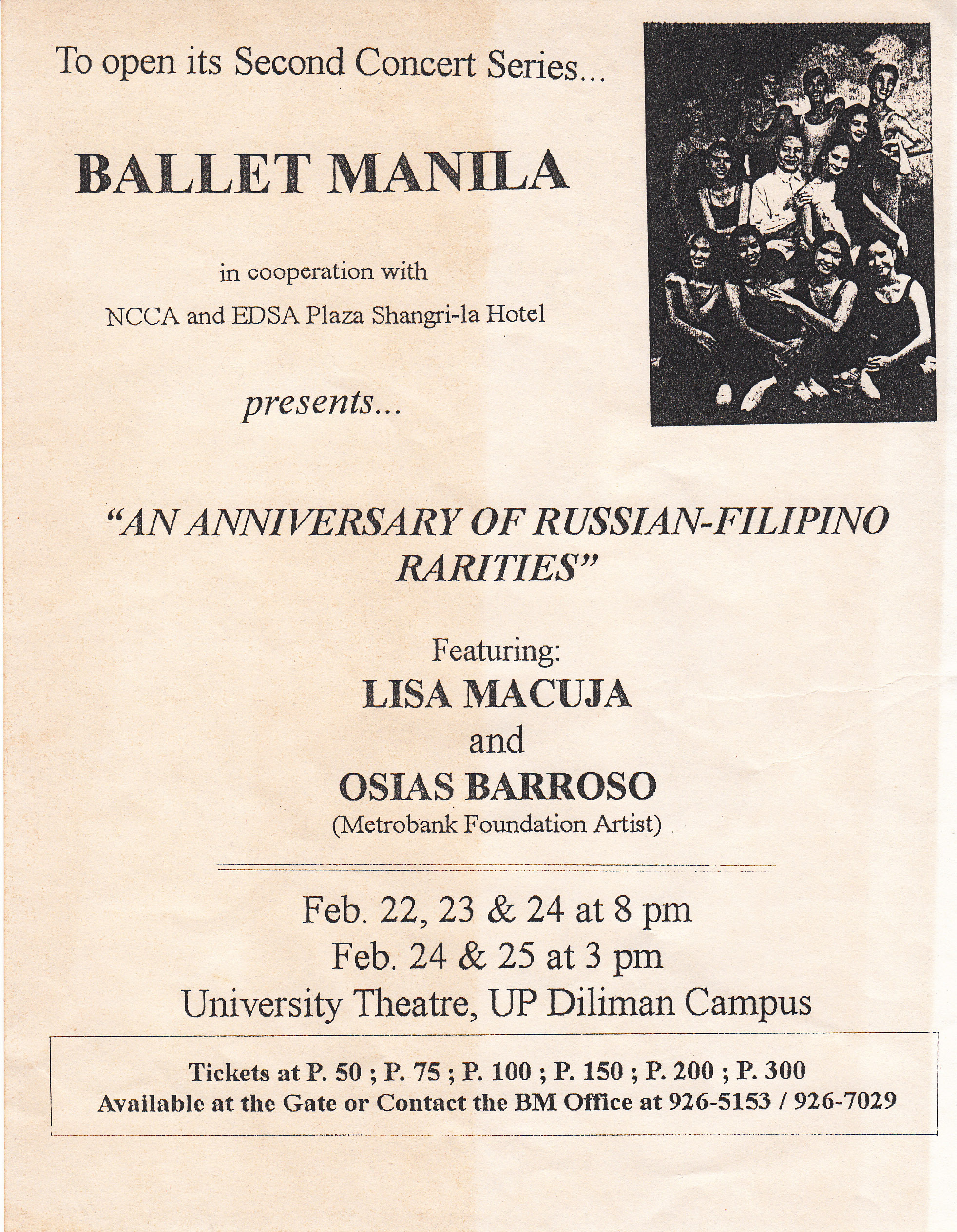 A flyer for the anniversary show indicates that ticket prices ranged from P50 to P300. From the Ballet Manila Archives collection