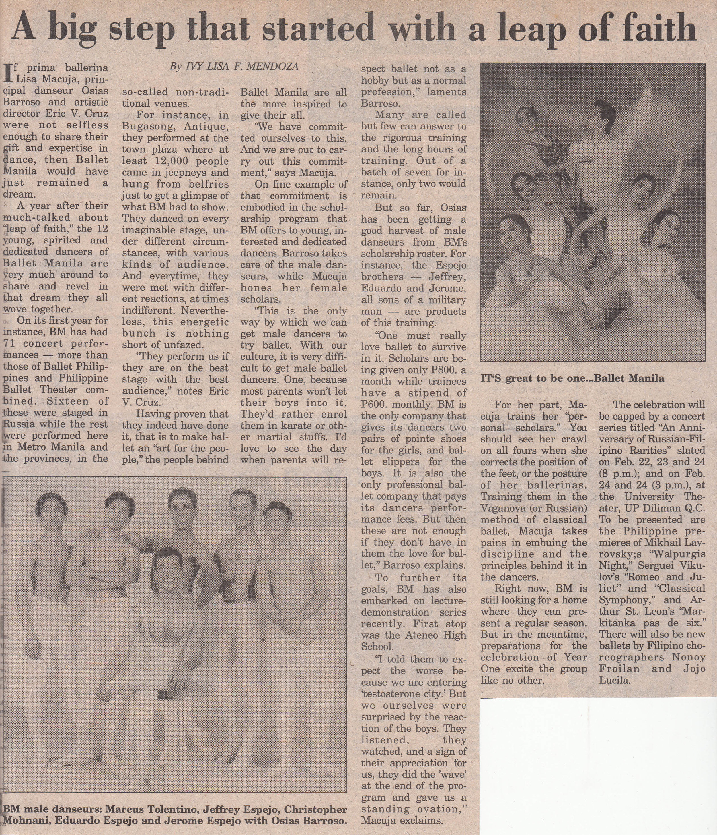 A story in the Manila Bulletin reveals what the group of pioneering dancers managed to achieve in its first year. From the Ballet Manila Archives collection