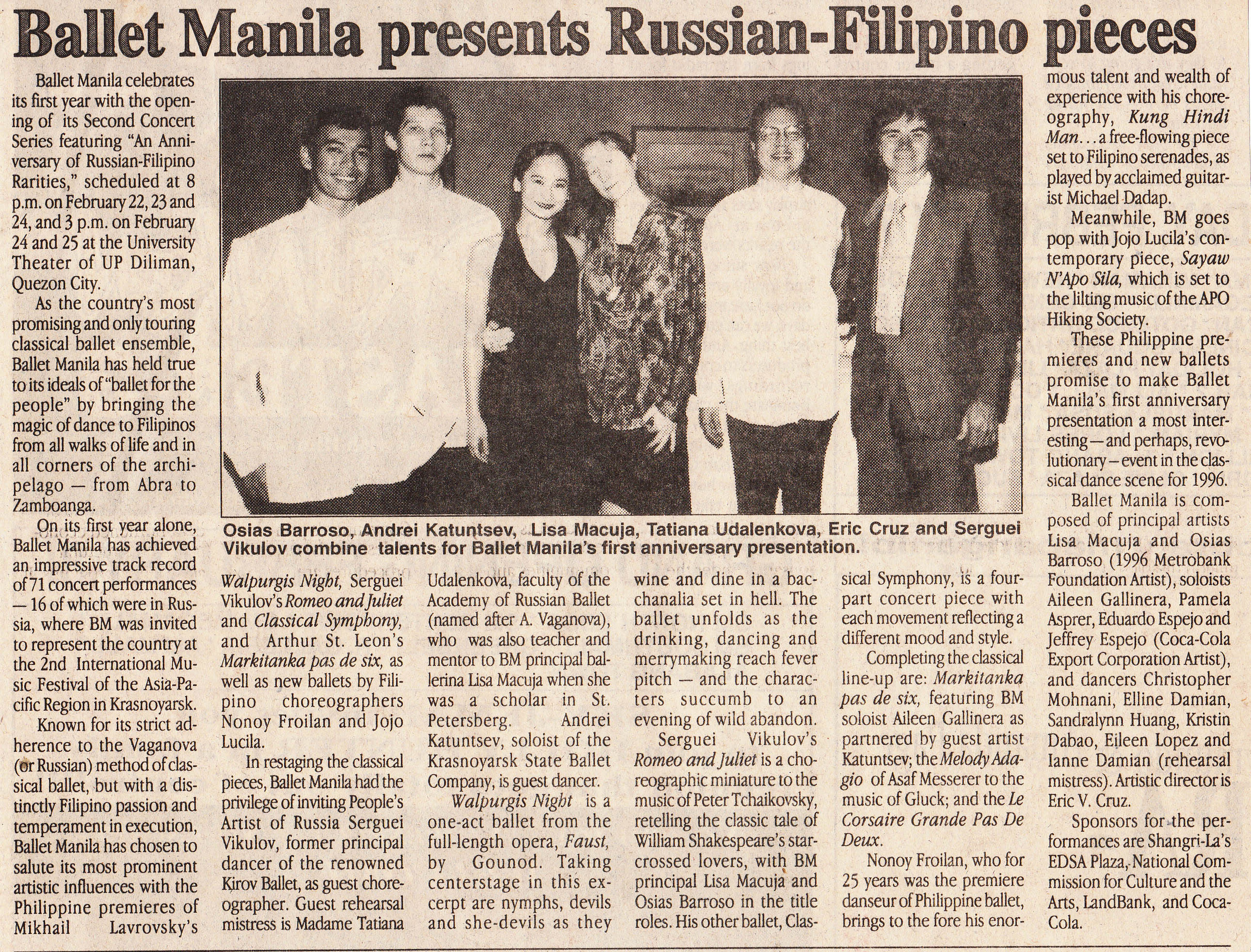 A press release published in The Philippine Star lists the numbers featured in the anniversary repertoire. From the Ballet Manila Archives collection