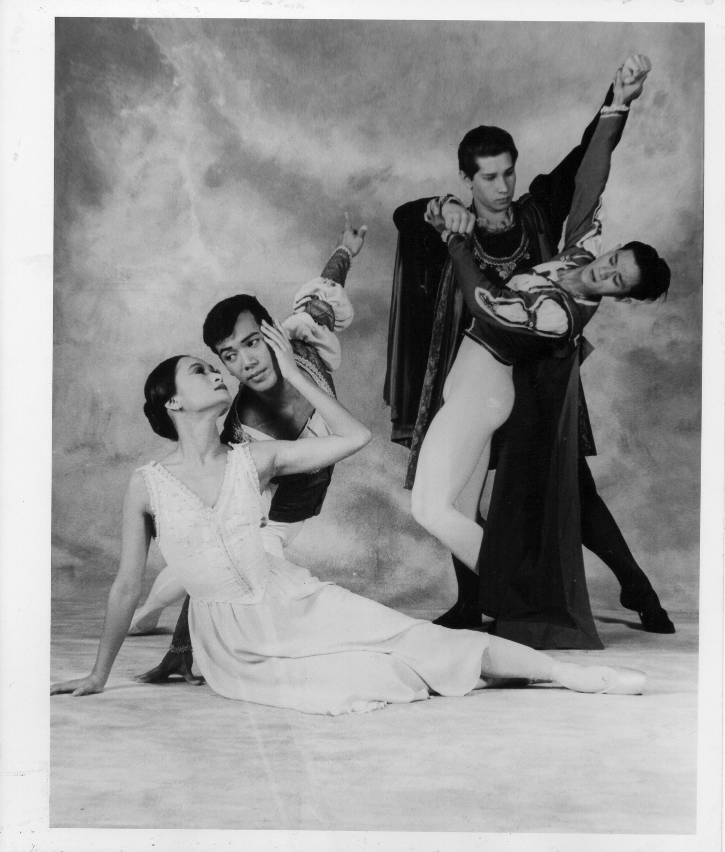 Serguei Vikulov's    Romeo and Juliet    used only four characters: Juliet (Lisa Macuja), Romeo (Osias Barroso), Tybalt (Andrei Katuntsev) and Mercutio (Jeffrey Espejo). From the Ballet Manila Archives collection