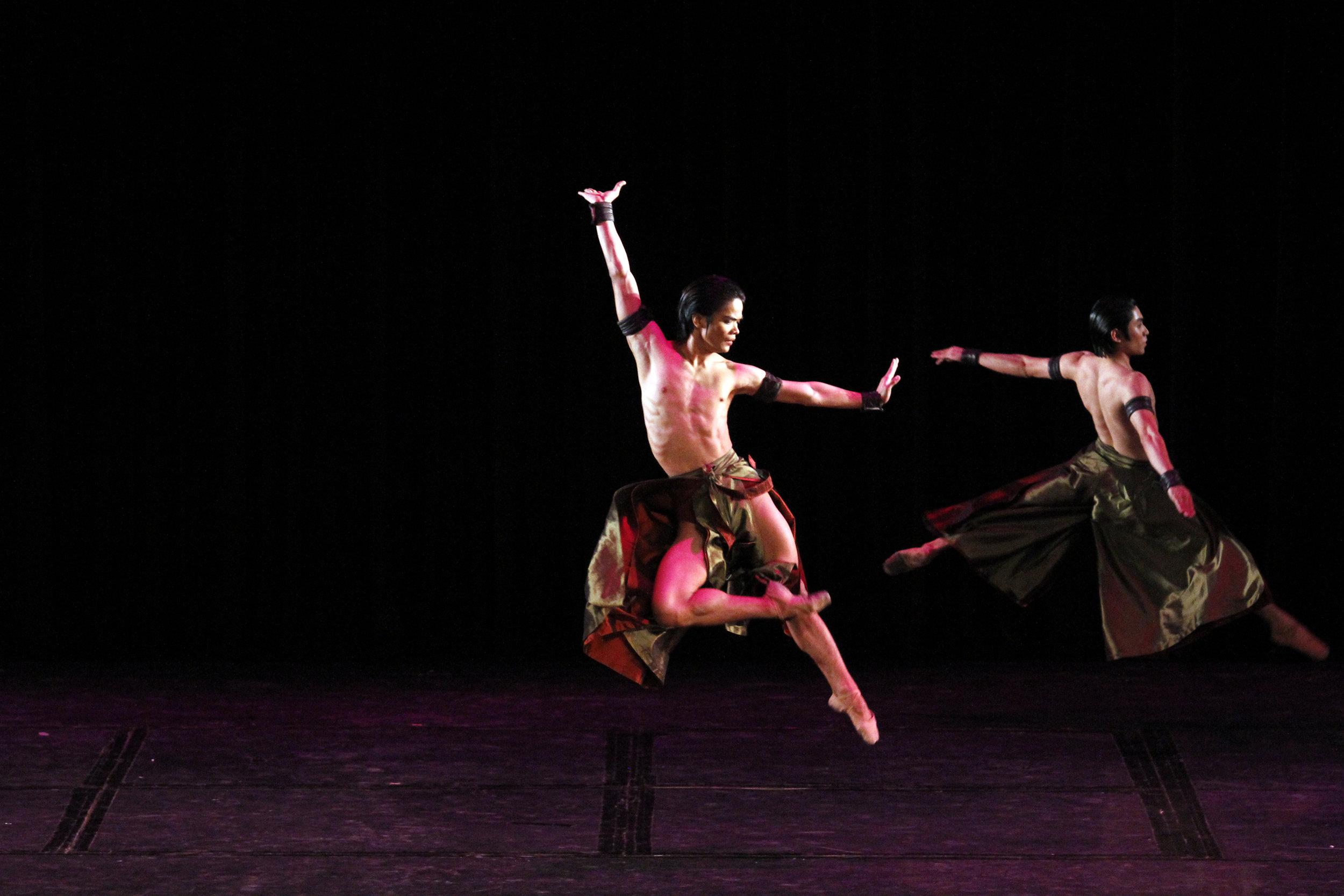 Elpidio Magat makes a leap in Bam Damian's    Reconfigured   , presented in    Ballet & Ballads    (2013). Photo by Ocs Alvarez