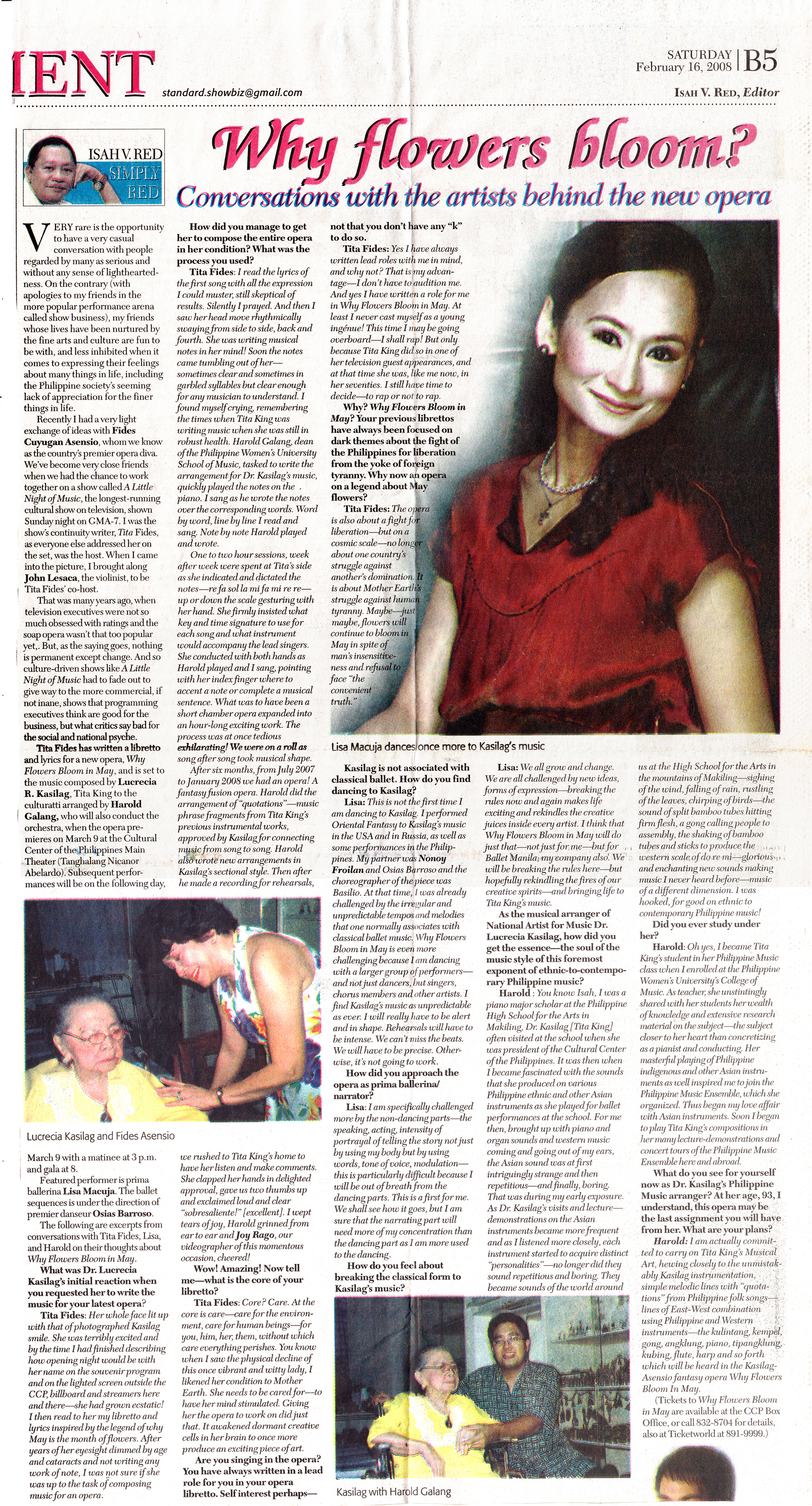 Clipping of a newspaper interview with the artists of    Why Flowers Bloom in May.    From the Ballet Manila Archives collection