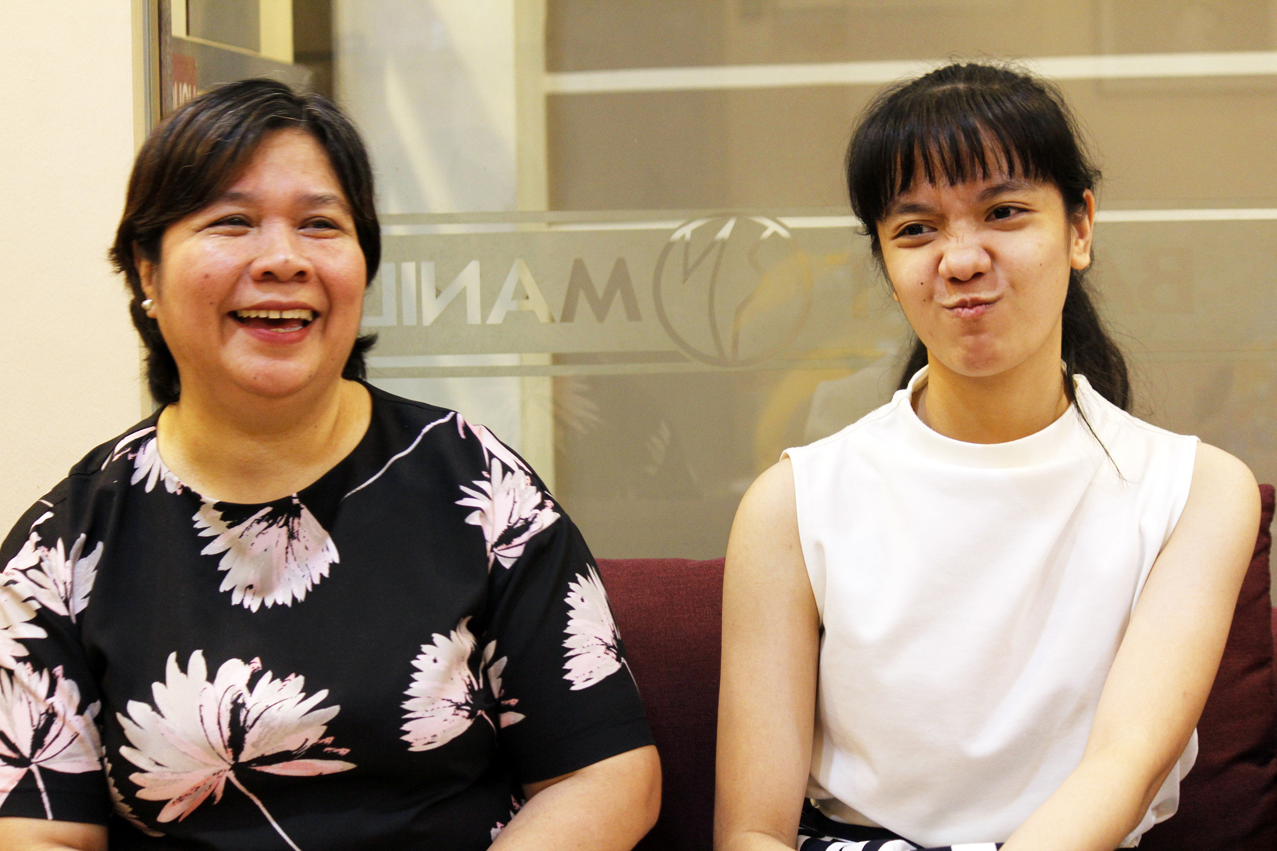 Marinette jokingly makes a face as mom Baby talks about their occasional disagreements. Photo by Jimmy Villanueva
