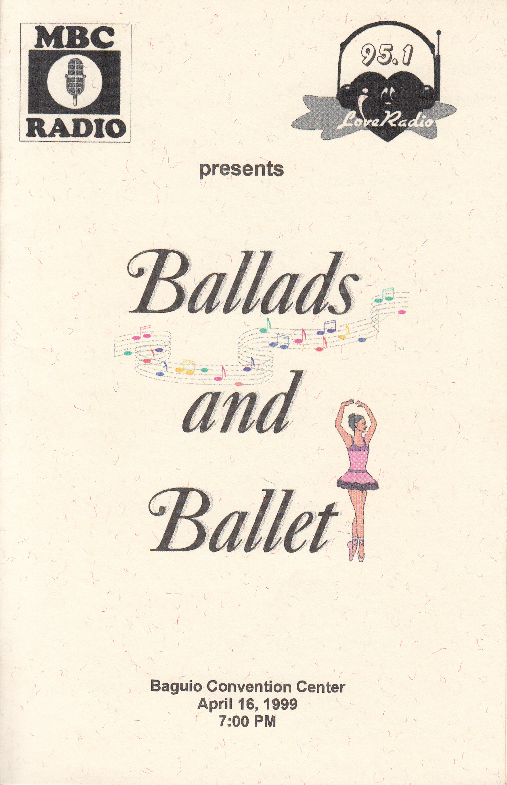 Souvenir program cover for    Ballet & Ballads    in Baguio. From the Ballet Manila Archives collection