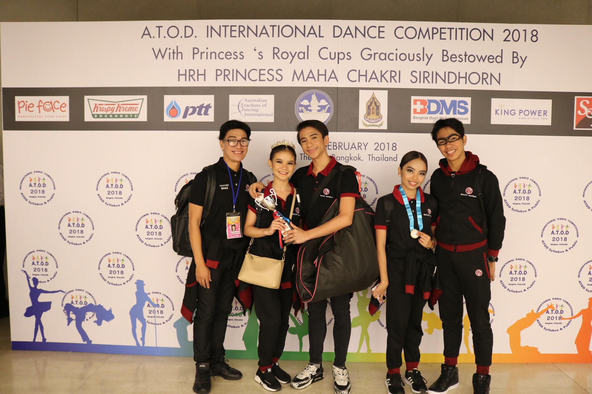 It was a thrill for Lyssa (second from right) to win honorable mention with partner Alvin Dictado (rightmost) at the ATOD competition in Bangkok. With them are their mentor, Osias Barroso, and fellow BM dancers Shaira Comeros and Brian Sevilla who won third place. Photo courtesy of Alvin Dictado
