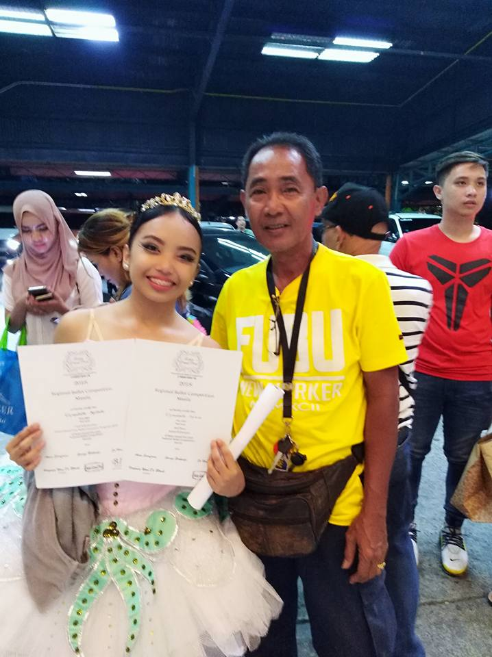 Lyssa shares her third-place finish at the recent AGP Regionals with her father Eduardo Apilado, her constant companion to and from her ballet classes and who, she says, guides her in everything she does. Photo courtesy of Elyssabeth Apilado