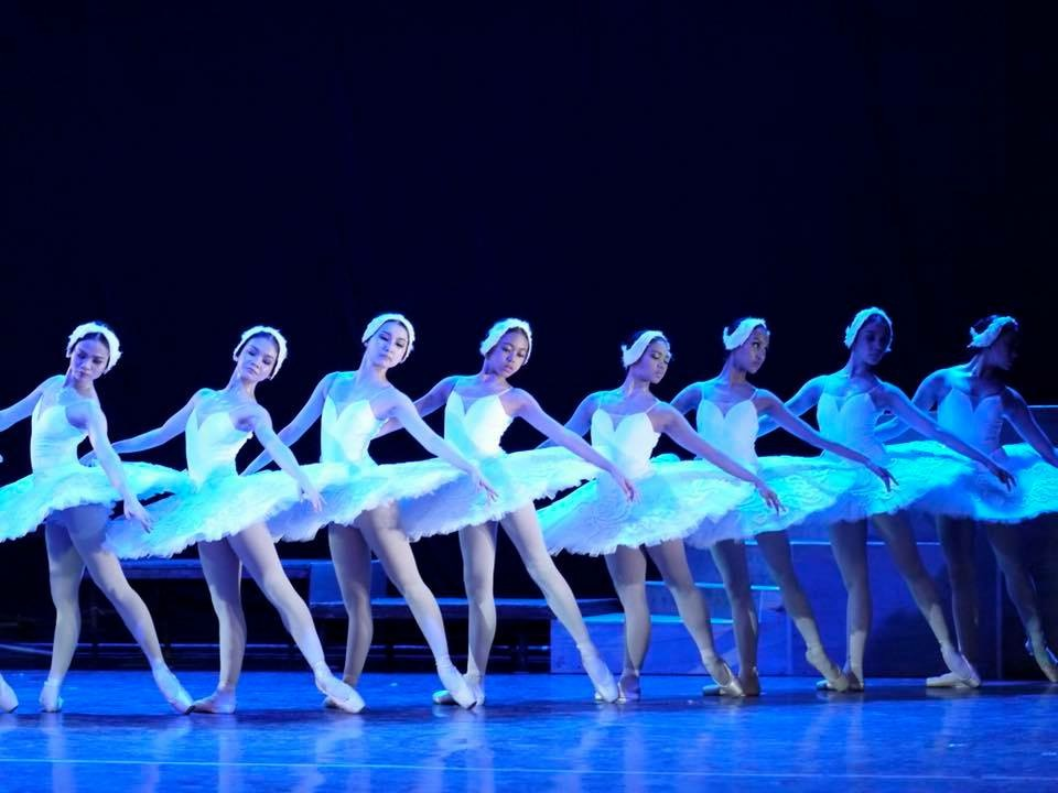 Gaile (fourth from left) performed as part of the corps in Ballet Manila's    Swan Lake    last October. Photo by Giselle P. Kasilag