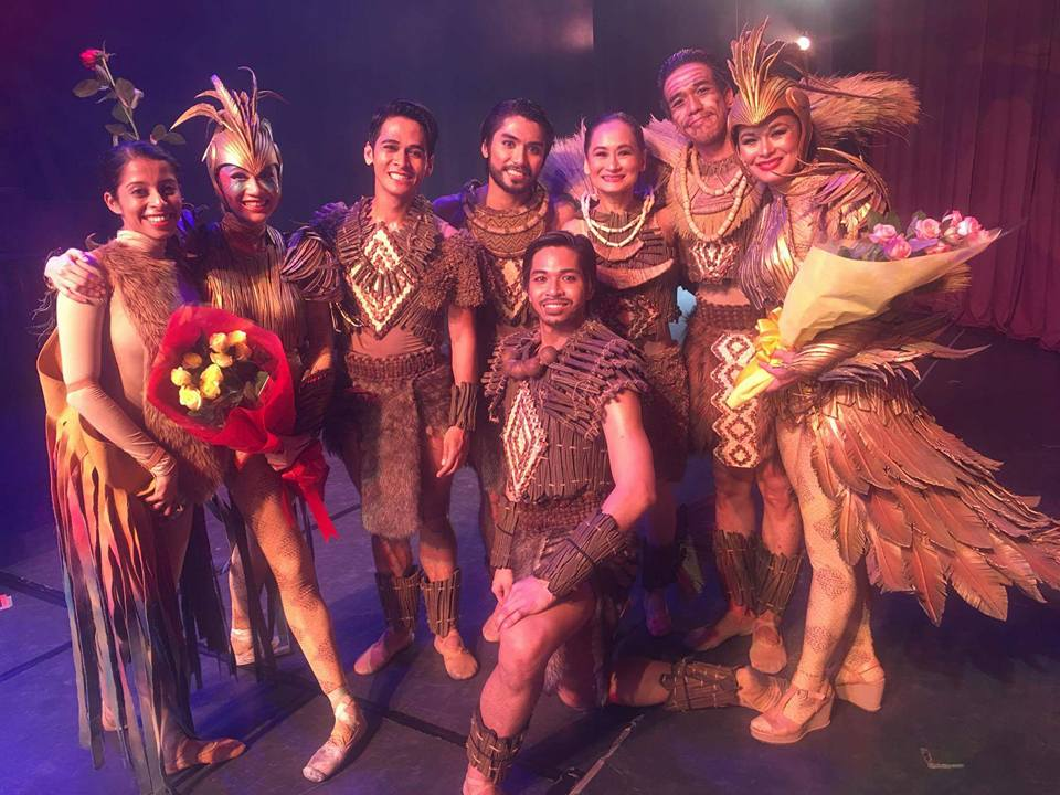 Deepika Ravindran (leftmost) was able to participate in Ballet Manila's    Ibong Adarna    production and posed with lead cast members including artistic director Lisa Macuja-Elizalde (fifth from left) as the queen. Photo from Deepika Ravindran's Facebook page